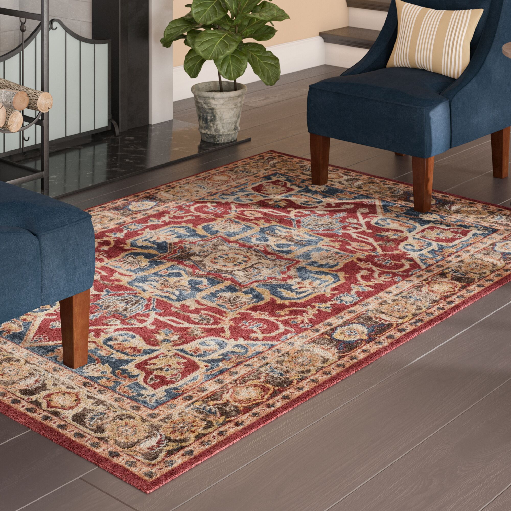 Broomhedge Red/Beige Area Rug Rug Size: Rectangle 10' x 14'