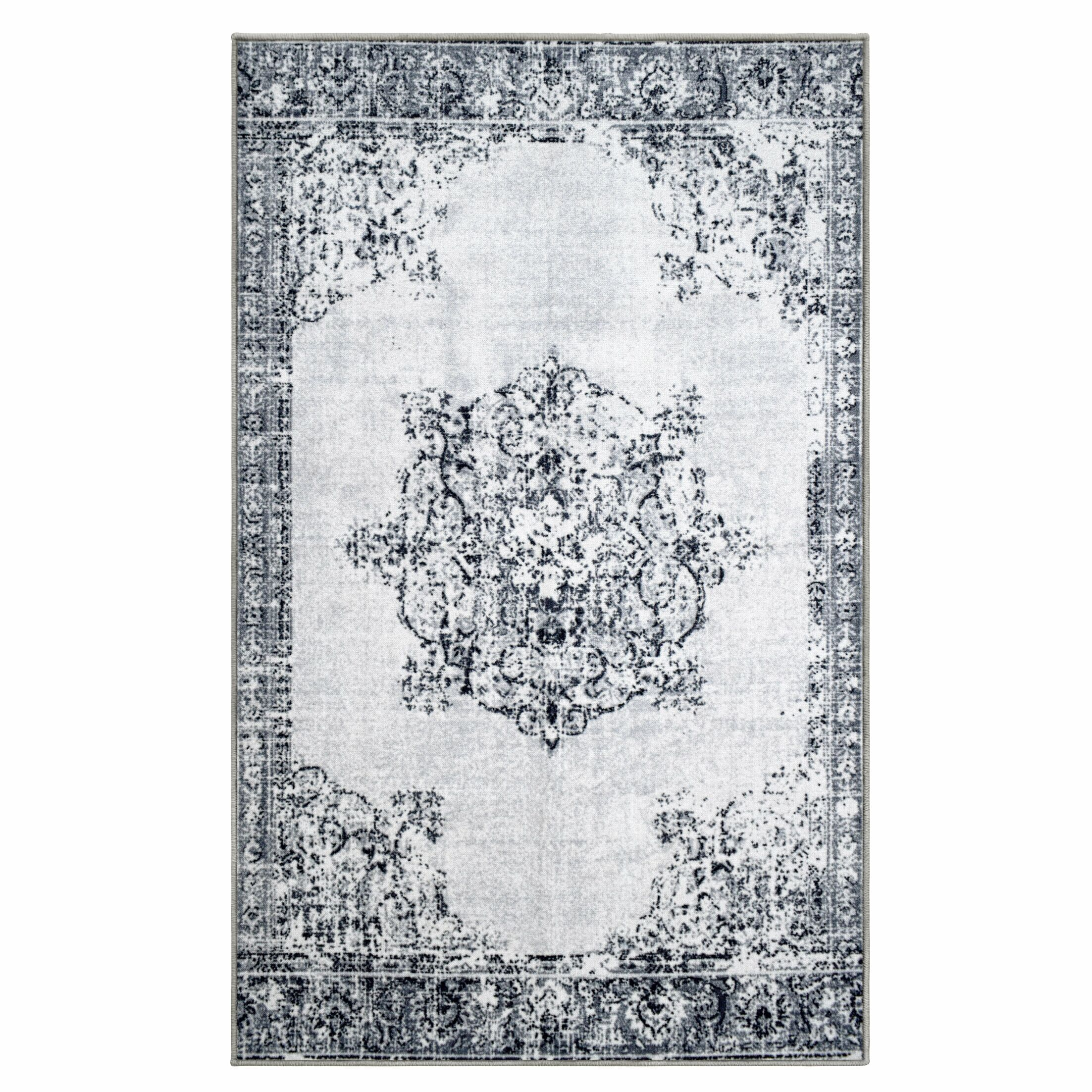 One of Kind Zosia Superior Printed Non-Slip Synthetic Gray Area Rug Rug Size: Rectangle 8' x 10'
