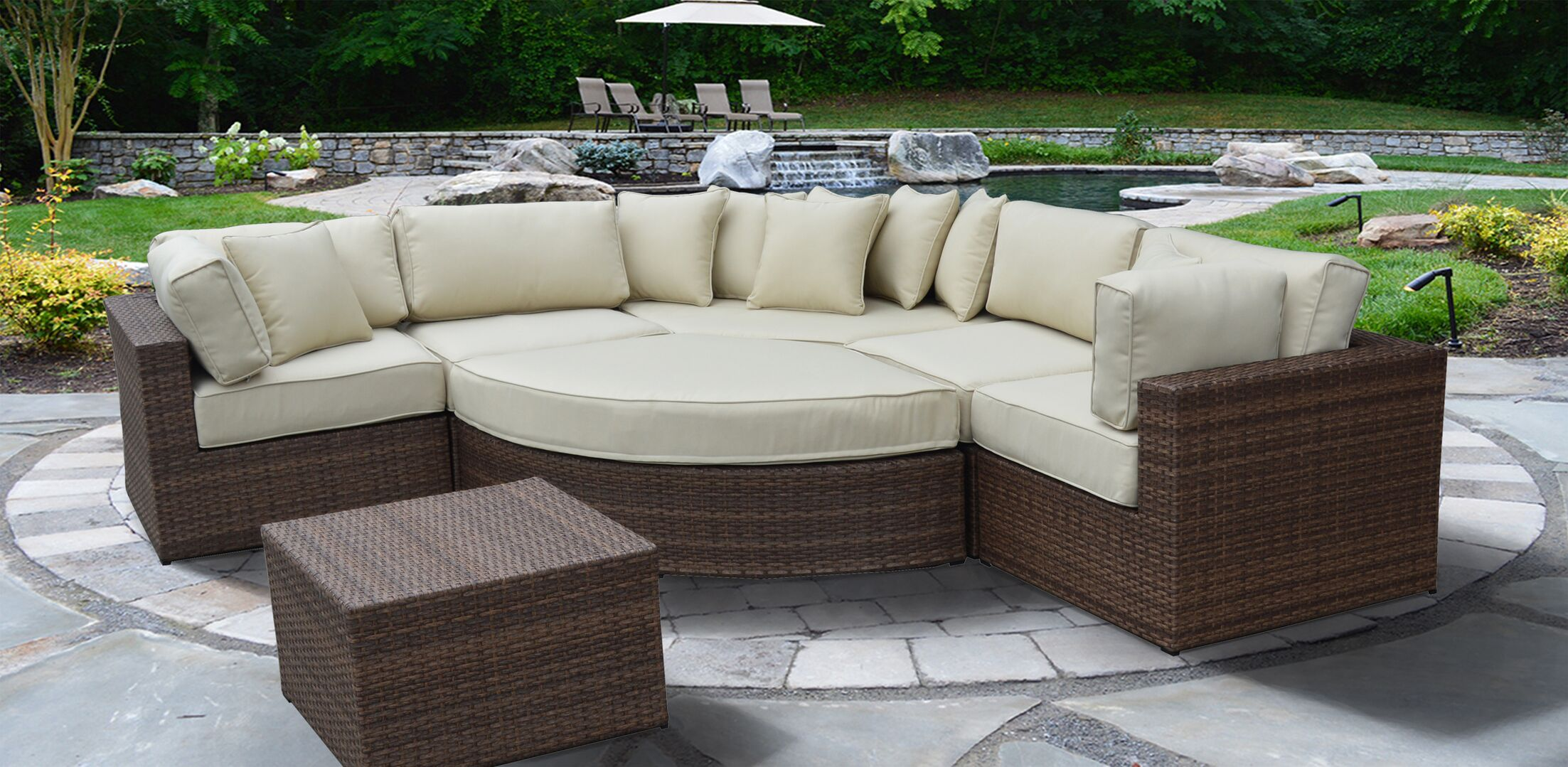 Oberon Lush and Stylish 7 Piece Rattan Sectional Set with Cushions
