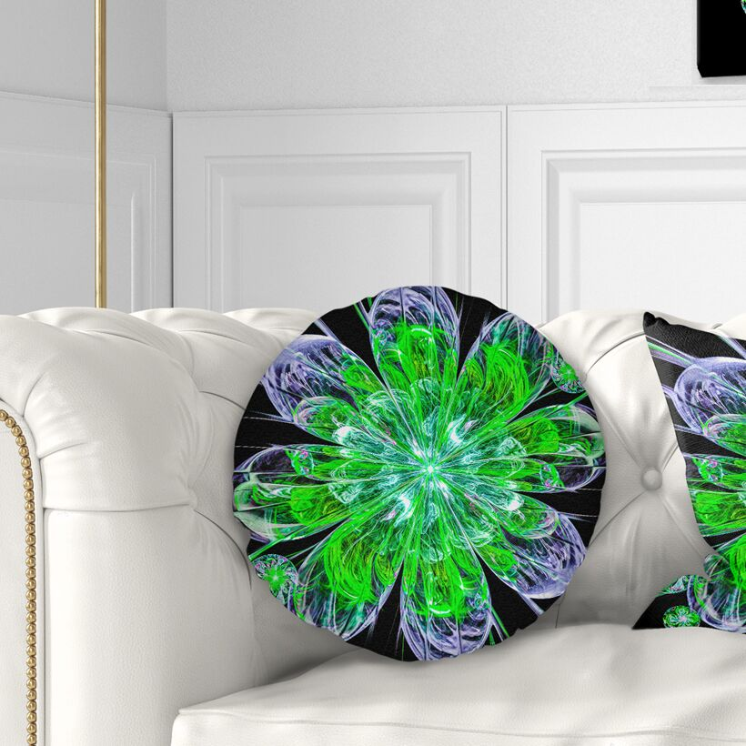 Perfect Shiny Fractal Flower Throw Pillow Size: 16