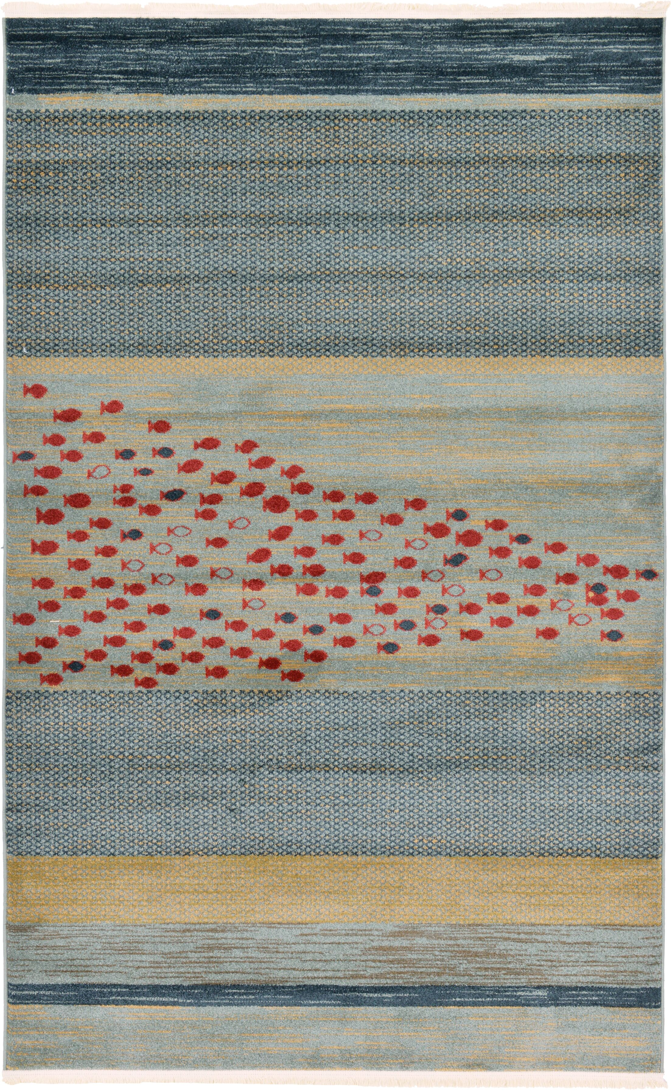 Jan Blue/Red/Beige Area Rug Rug Size: Rectangle 5'1