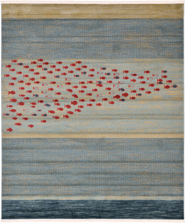 Jan Blue/Red/Beige Area Rug Rug Size: Rectangle 7' x 10'