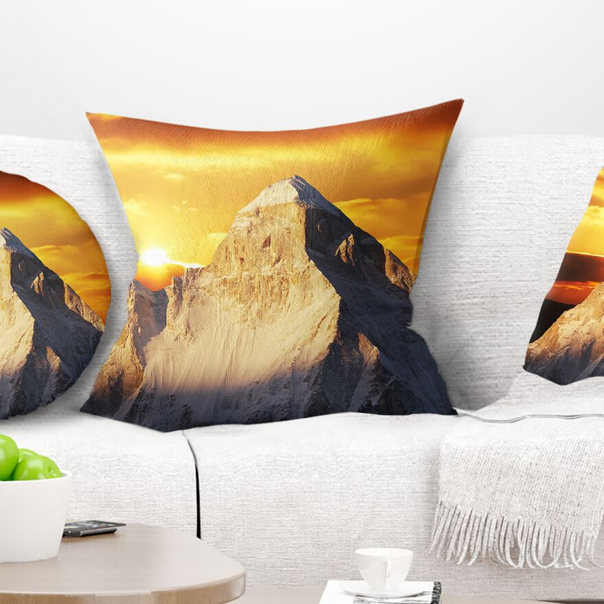 Landscape Shivling Garhwal Himalaya at Sunset Pillow Size: 18