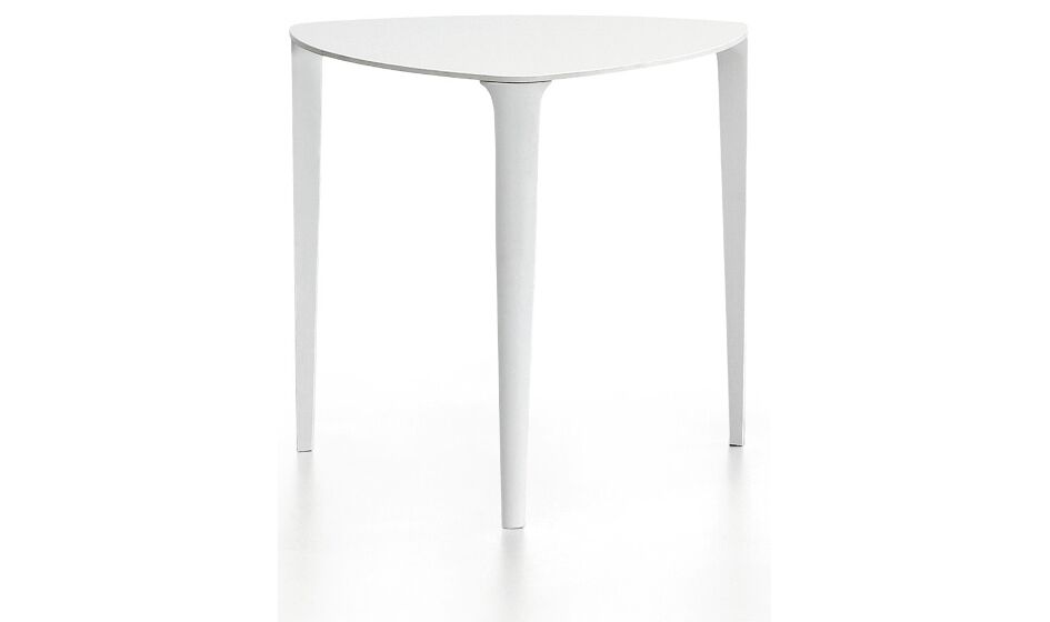 Nen� Triangolare Coffee Table Table Top Color: White HPL Black Core, Table Base Color: White Steel