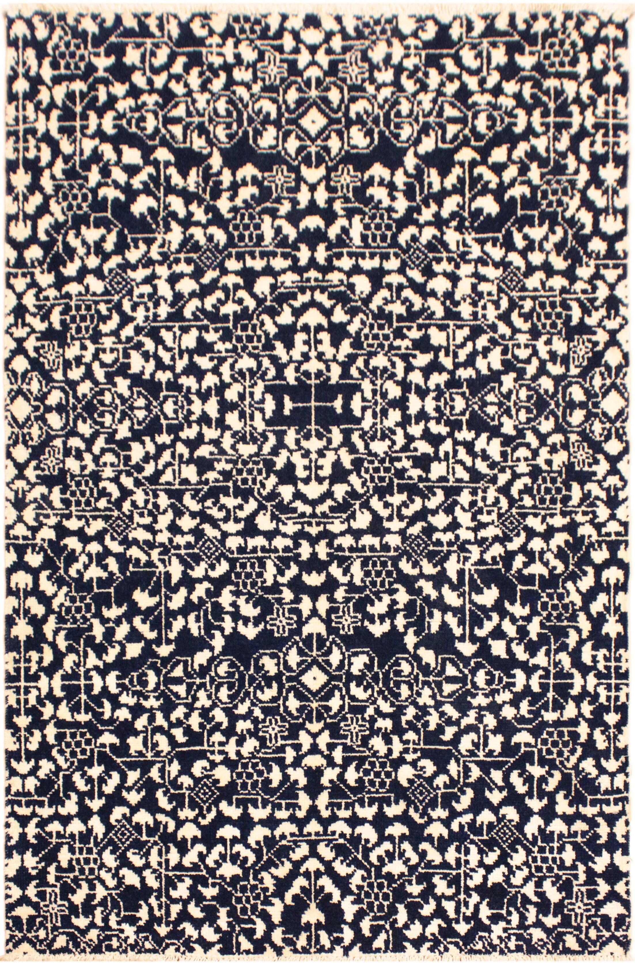 One-of-a-Kind Toby Hand Knotted Wool Black/Ivory Area Rug