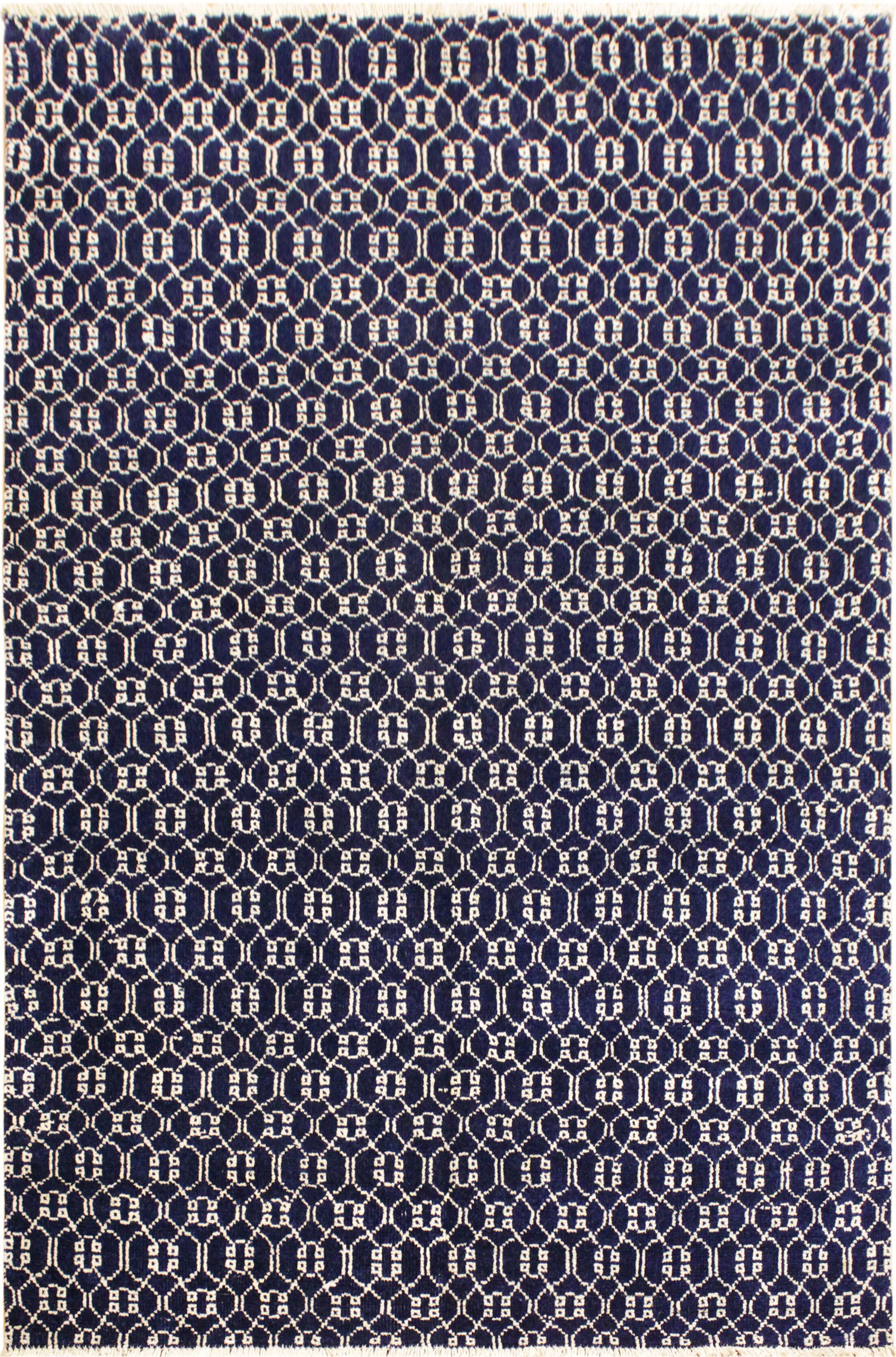 One-of-a-Kind Marigold Hand Knotted Wool Navy/White Area Rug