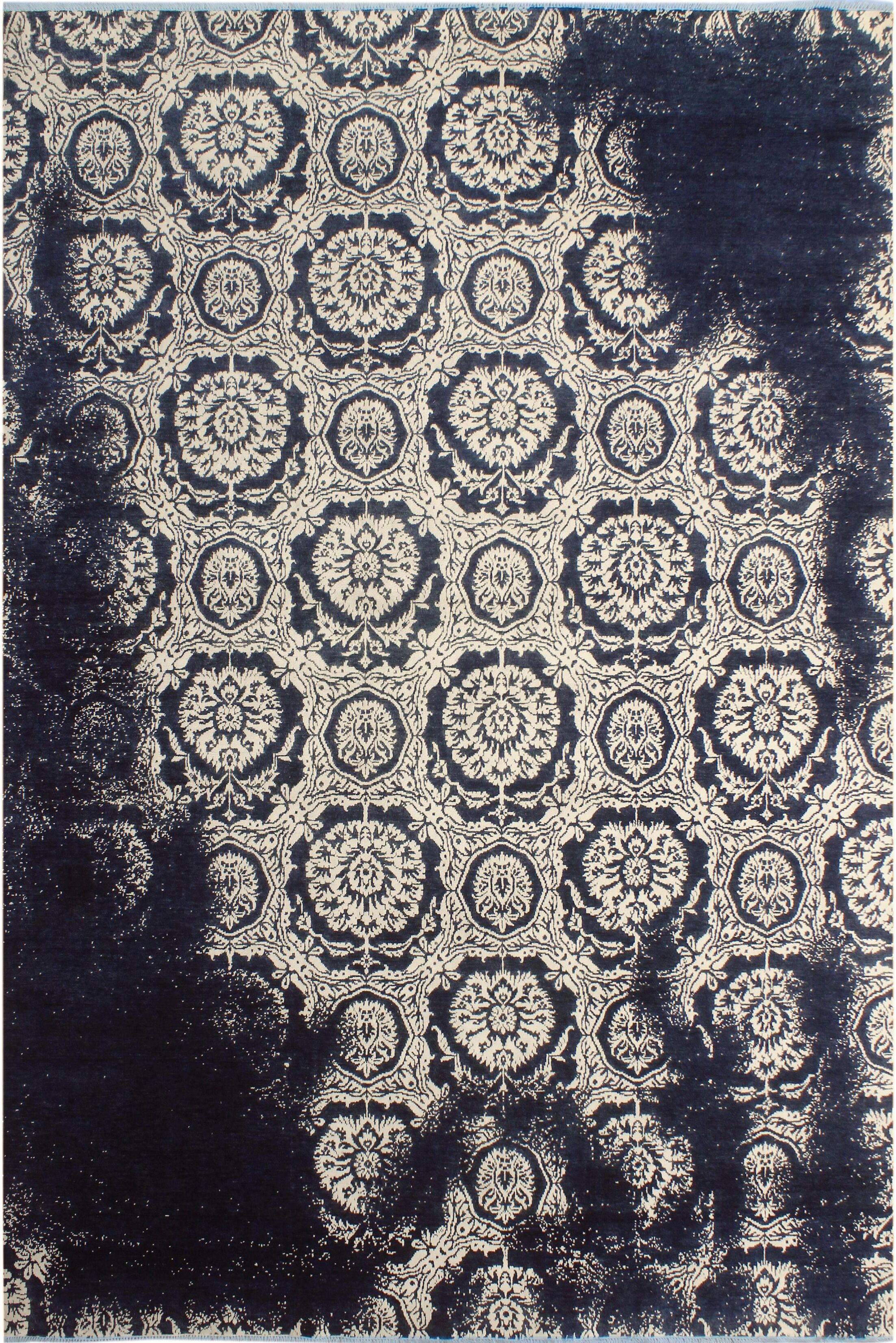 One-of-a-Kind Adonis Abstract Hand Knotted Wool Ivory/Navy Area Rug