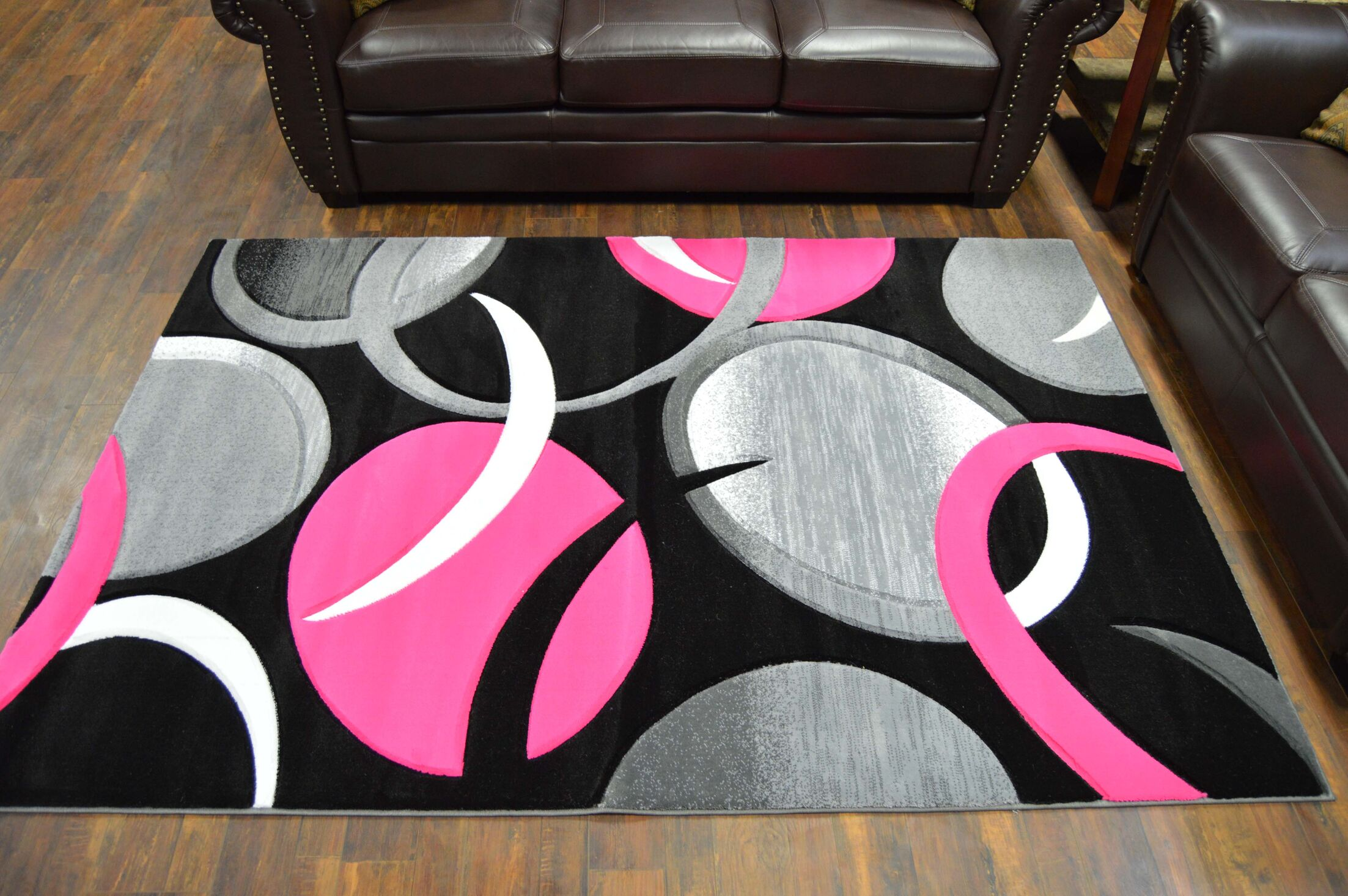 Mccampbell 3D Hand Carved Abstract Pink/Black Area Rug