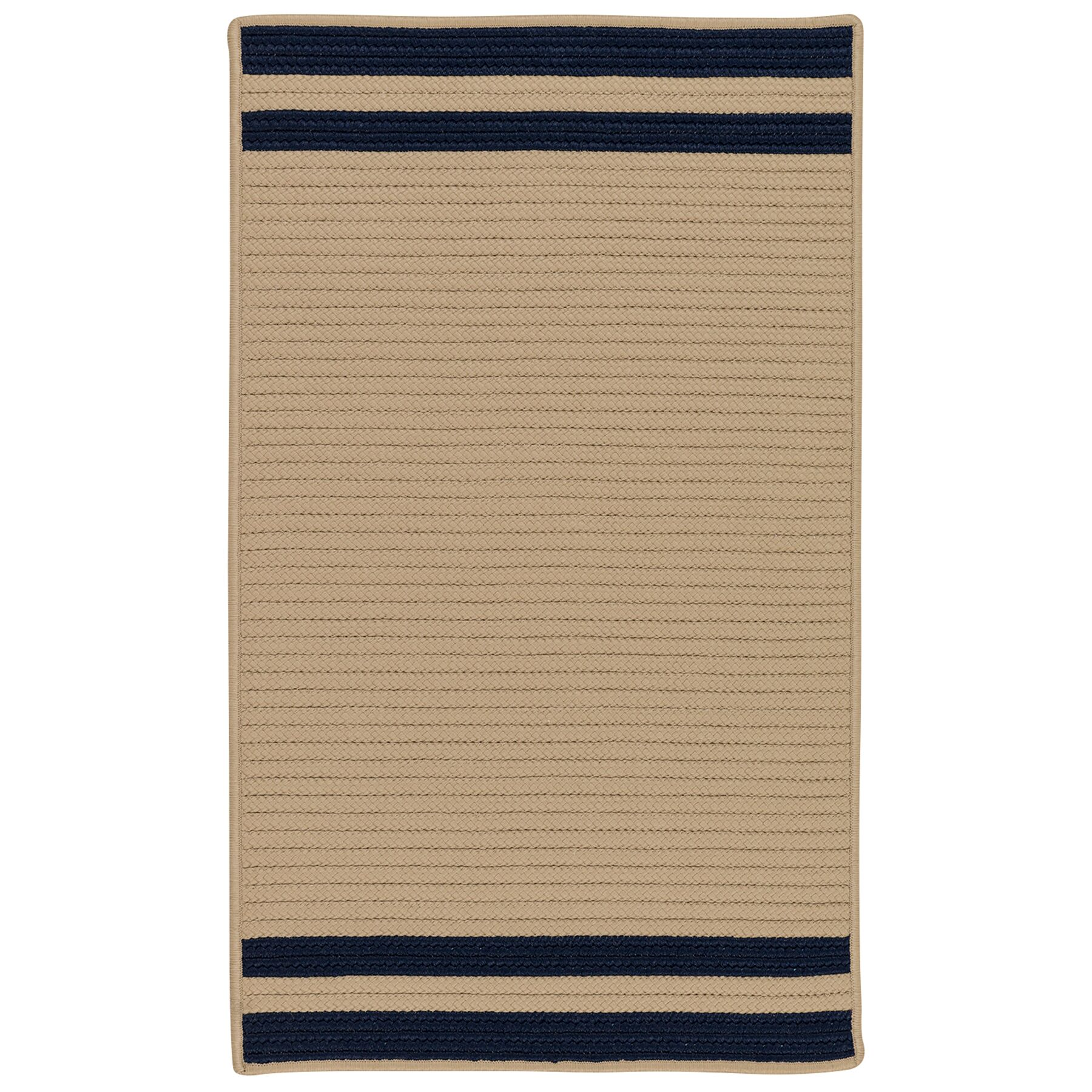 Kellie Stripe Hand-Braided Brown/Navy Indoor/Outdoor Area Rug Rug Size: Rectangle 5' x 7'