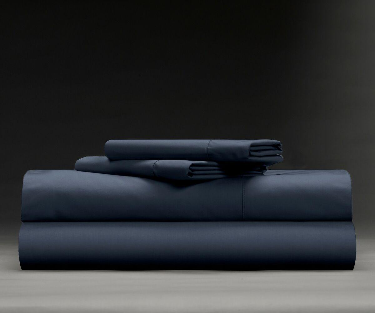 Isaiah Cool & Crisp 400 Thread Count 100% Cotton Sheet Set Size: Queen, Color: Dark Navy