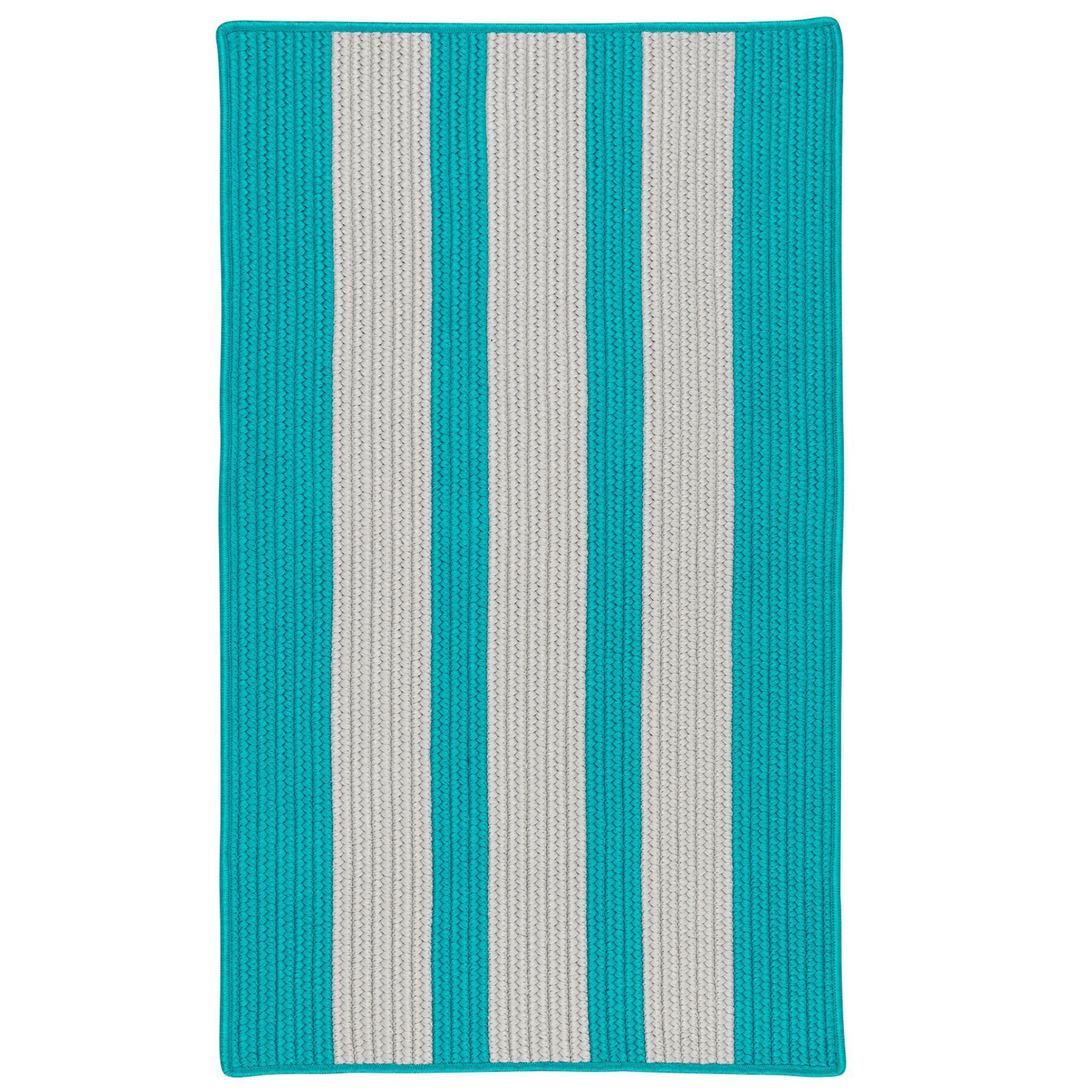 Wes Vertical Stripe Hand-Braided Gray/Turquoise Indoor/Outdoor Area Rug Rug Size: Rectangle 5' x 8'
