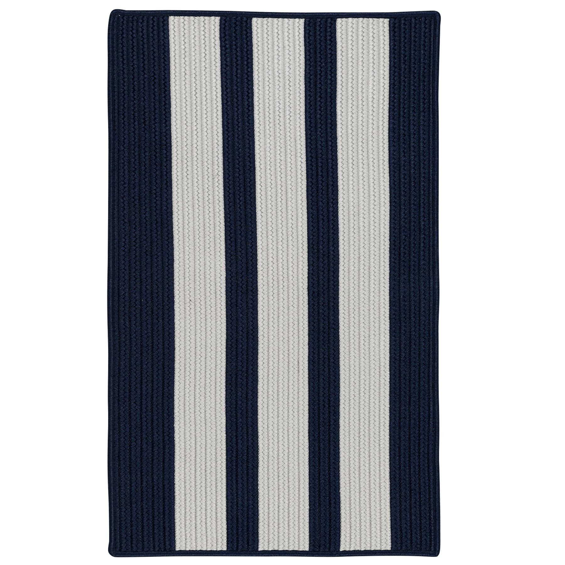 Wes Vertical Stripe Hand-Braided Gray/Navy Pier Indoor/Outdoor Area Rug Rug Size: Rectangle 2' x 4'