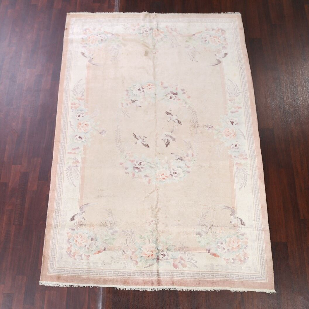 Bitteridge Floral Art Deco Chinese Traditional Oriental Hand-Knotted Silk Beige/Ivory Area Rug