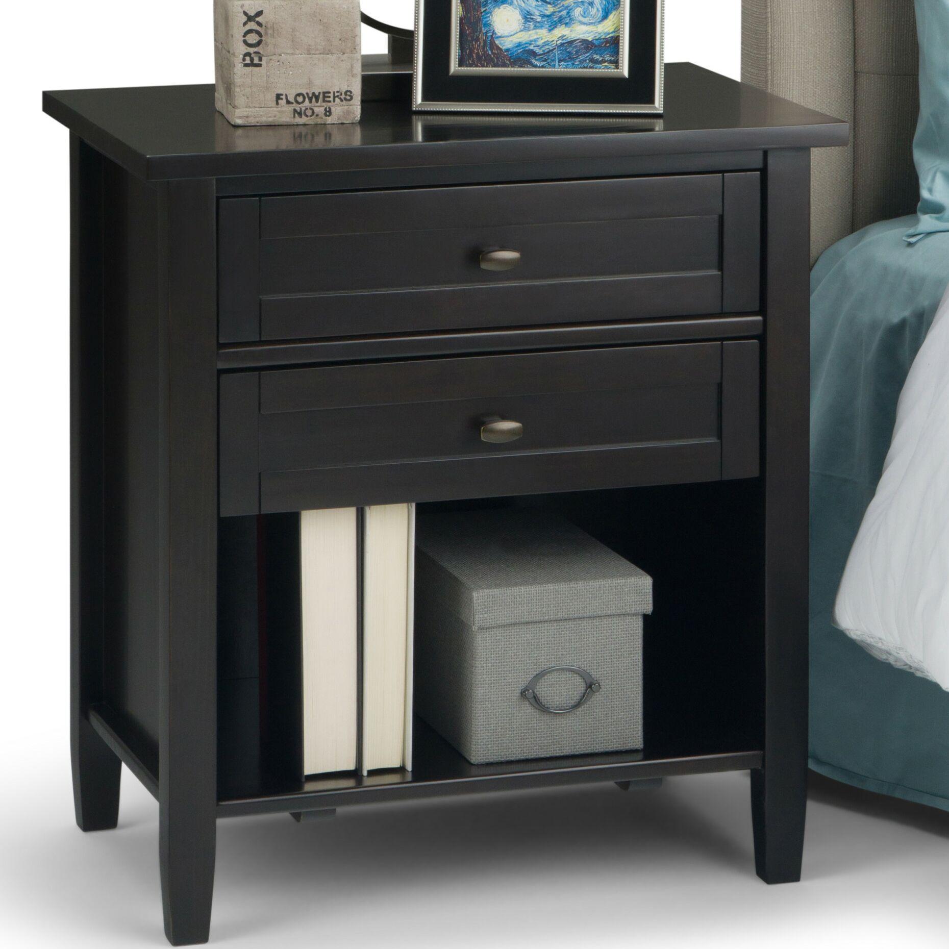 Warm Shaker 2 Drawer Nightstand Color: Dark Brown