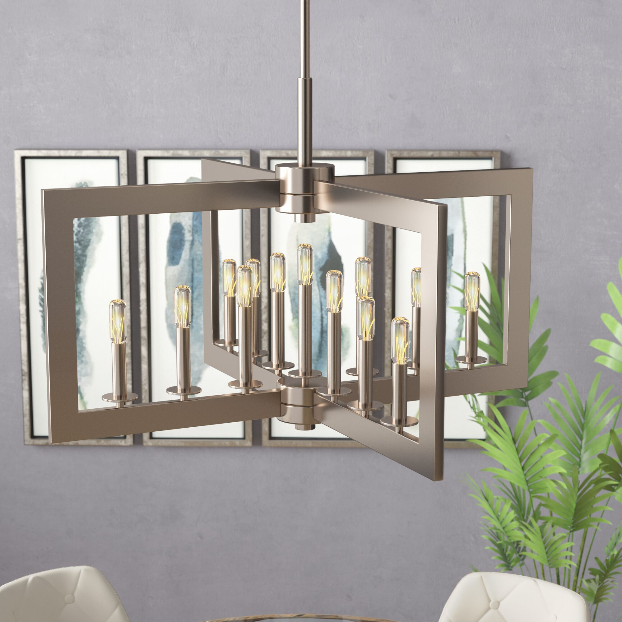 13-Light Square/Rectangle Chandelier Finish: Classic Pewter