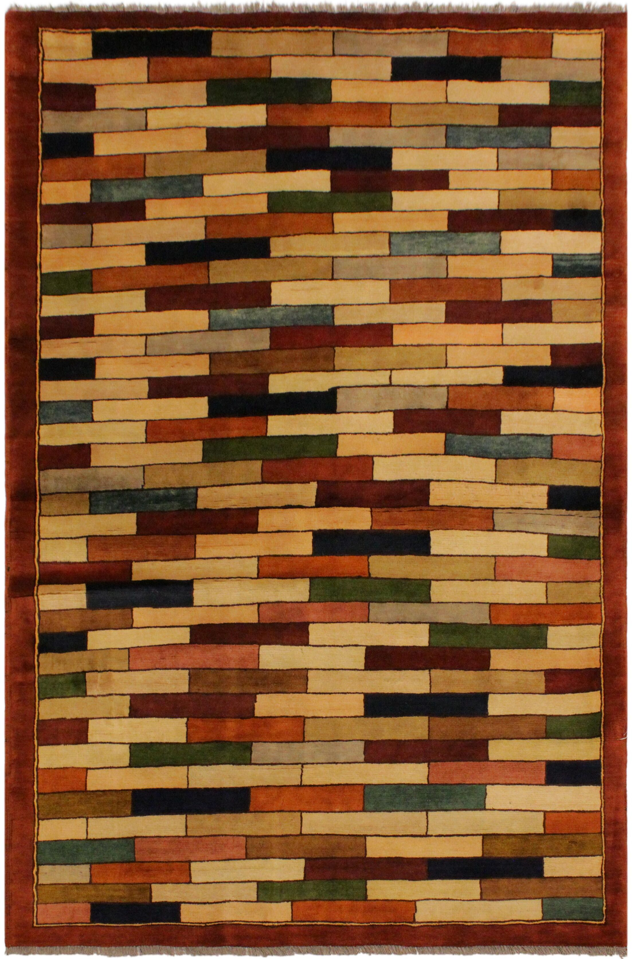 One-of-a-Kind Milo Hand-Knotted Wool Rust/Green Area Rug