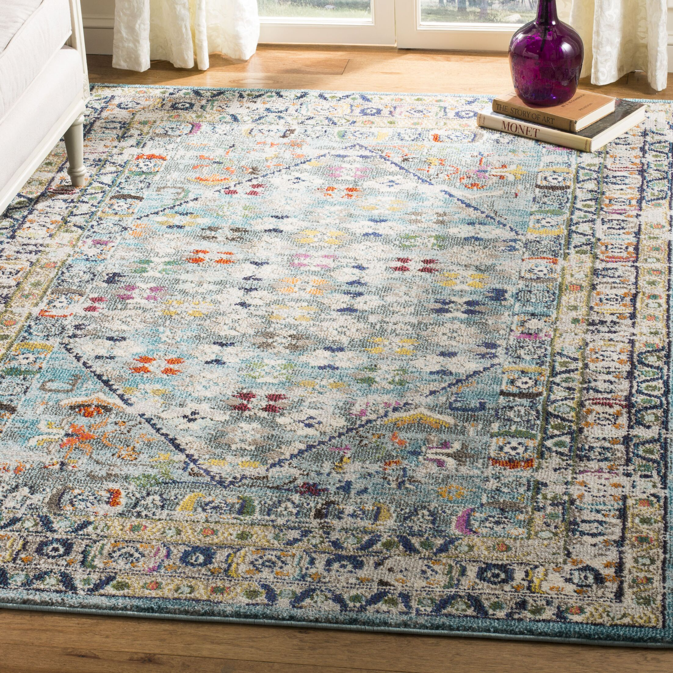 Arianna Blue/Light Gray Area Rug Rug Size: Rectangle 8' x 10'