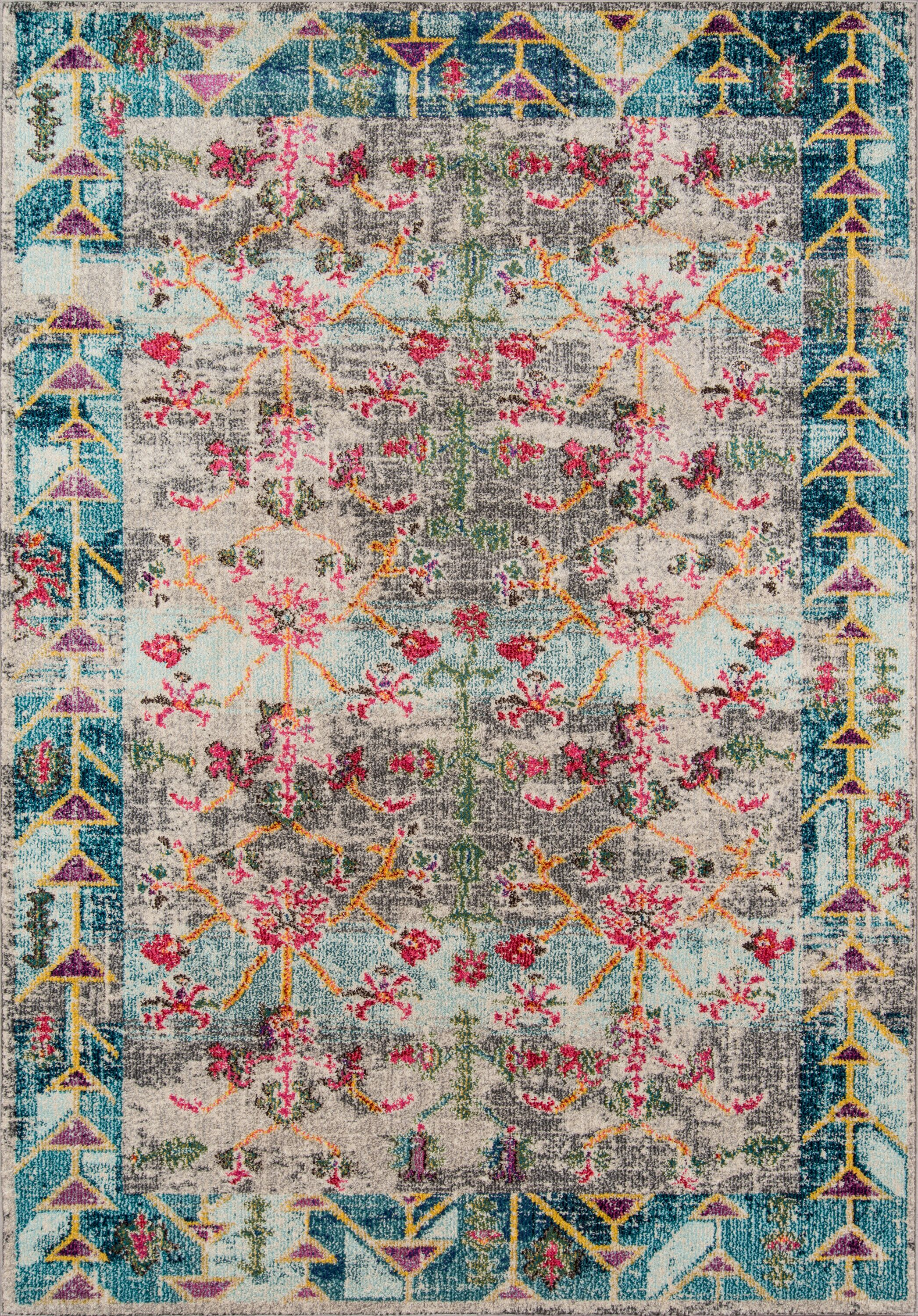 Laws Blue/Pink Area Rug Rug Size: Rectangle 9'3