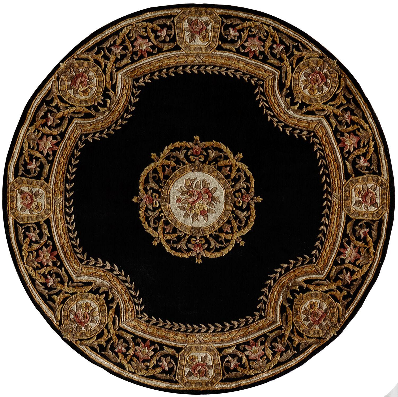 Laurel Hand-Tufted Wool Black Area Rug Rug Size: Round 5'