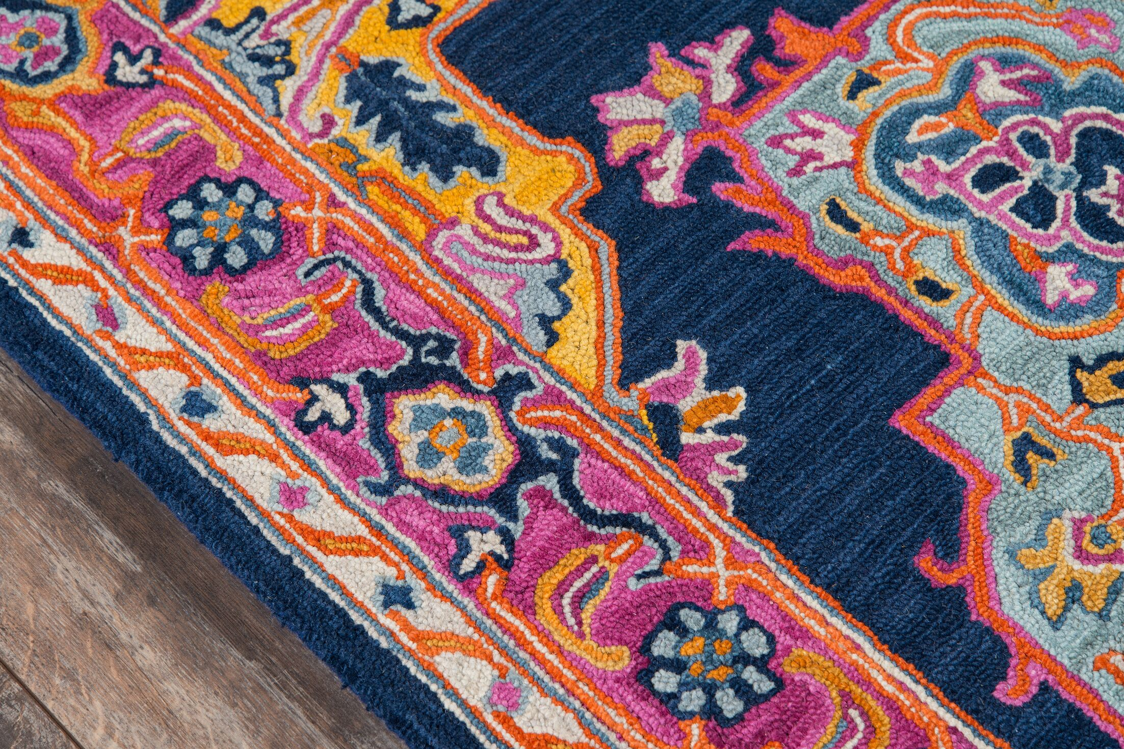 Lancaster Hand-Tufted Wool Navy Area Rug Rug Size: Rectangle6' x 9'