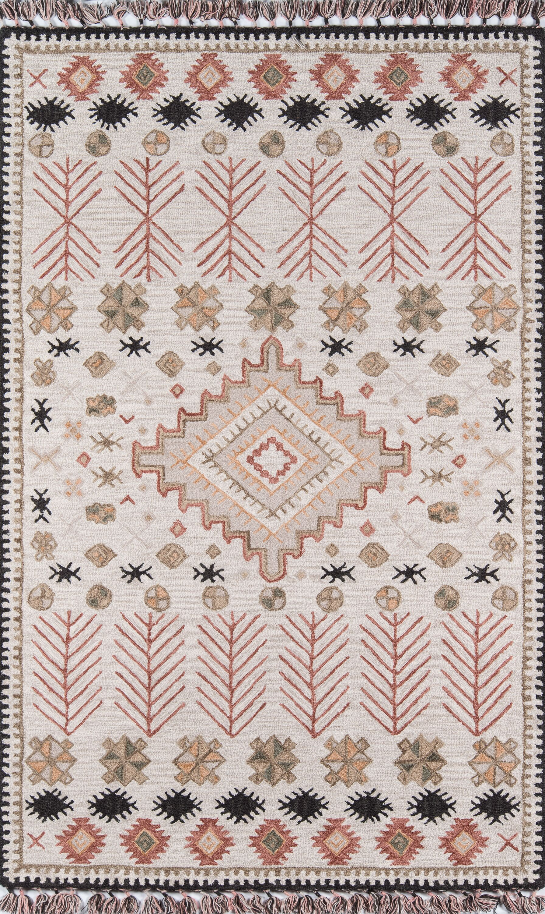 House Hand-Tufted Wool Pink/Beige Area Rug Rug Size: Rectangle 7'6