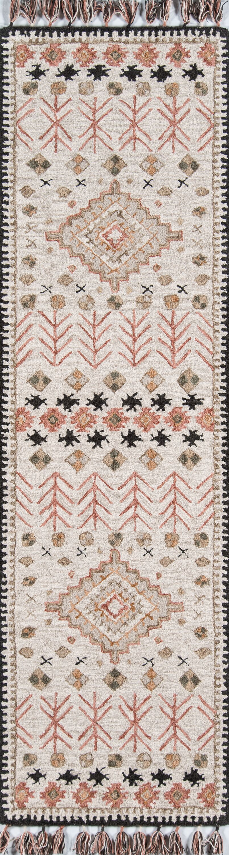 House Hand-Tufted Wool Pink/Beige Area Rug Rug Size: Runner 2'3