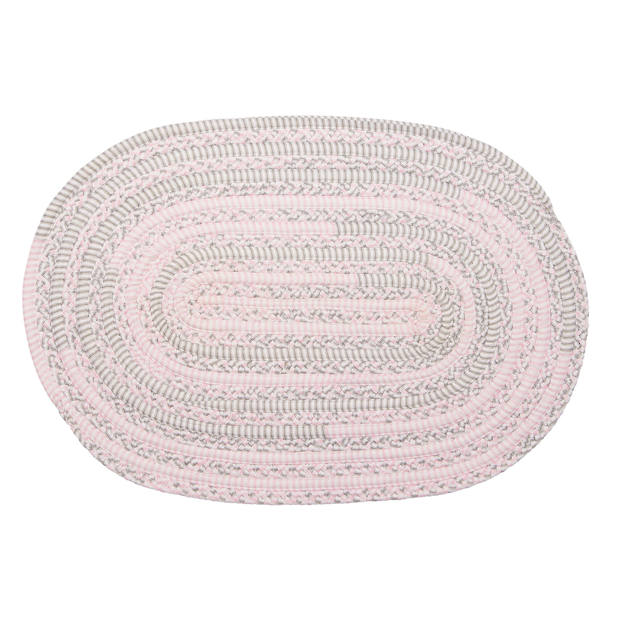 Banneker Hand-Braided Pink/Gray Area Rug Rug Size: Oval 2' x 4'