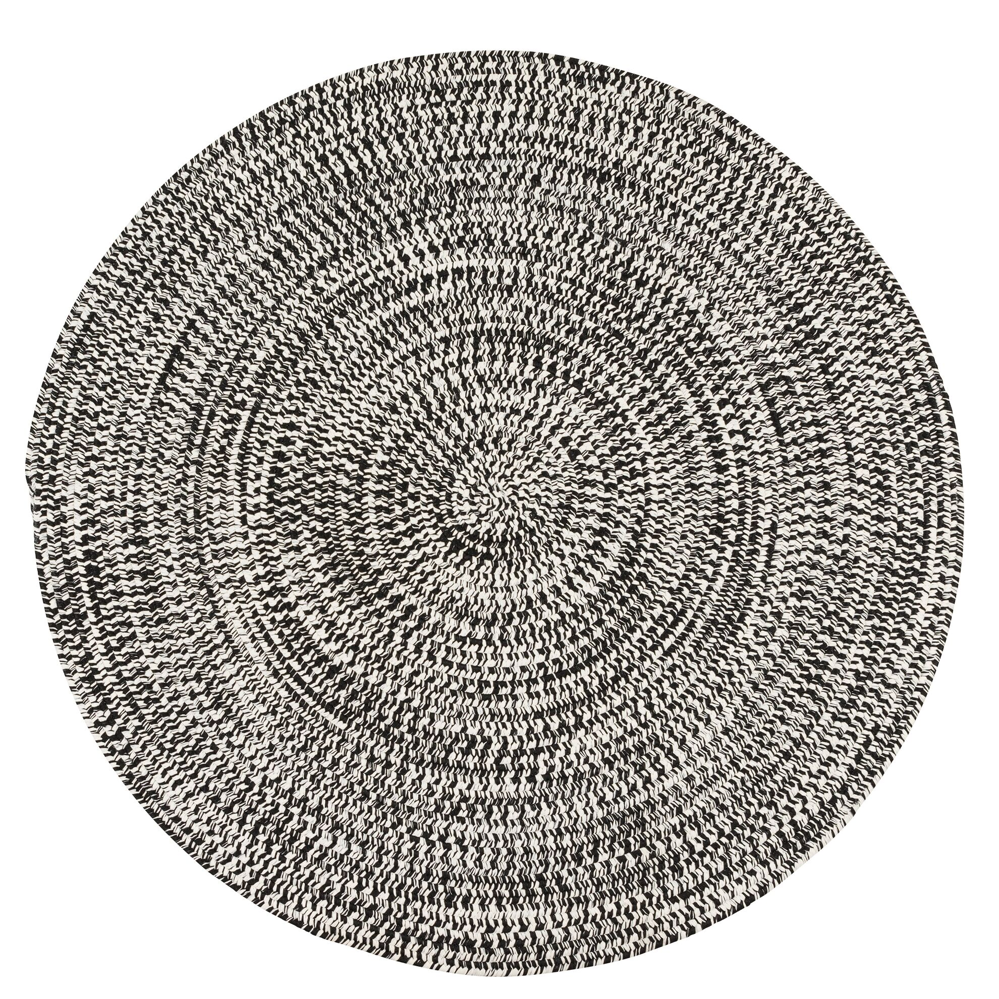 Longe Tweed Hand-Braided Electric Black Indoor/Outdoor Area Rug Rug Size: Round 8'