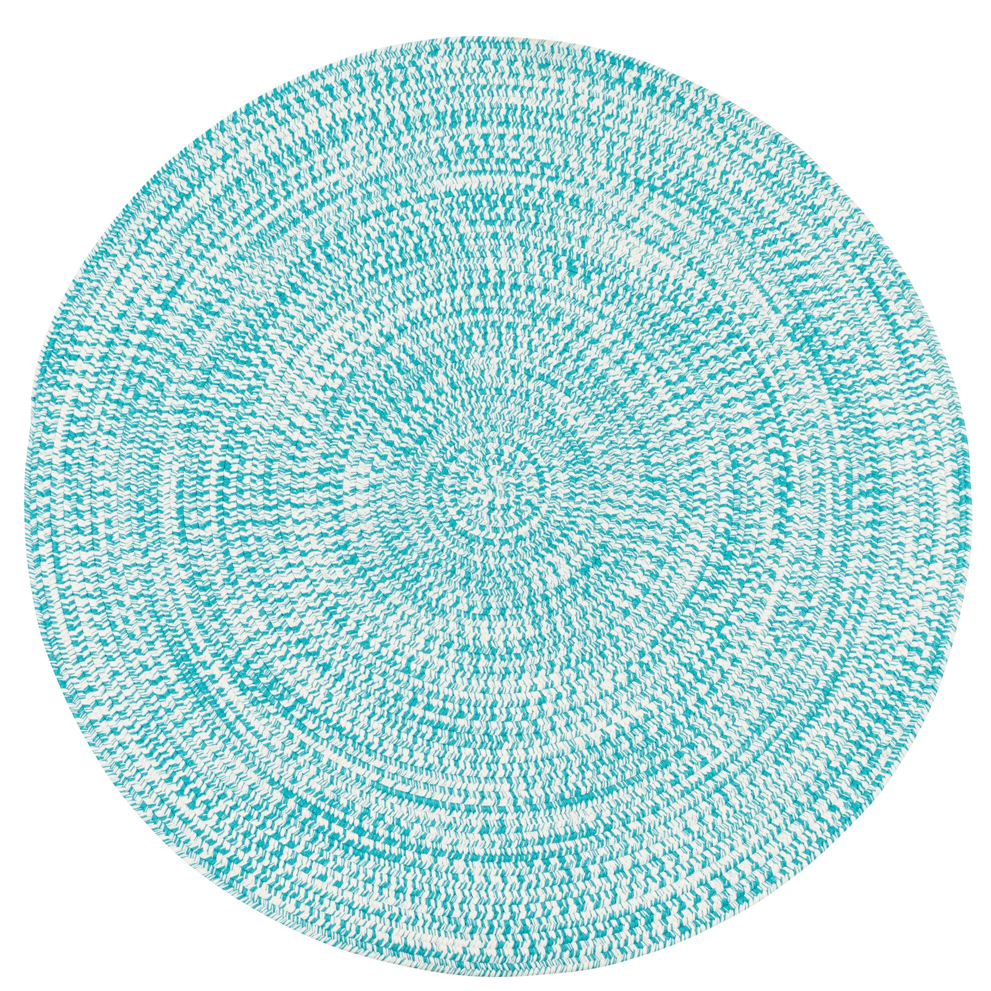 Longe Tweed Hand-Braided Aqua Indoor/Outdoor Area Rug Rug Size: Round 7'
