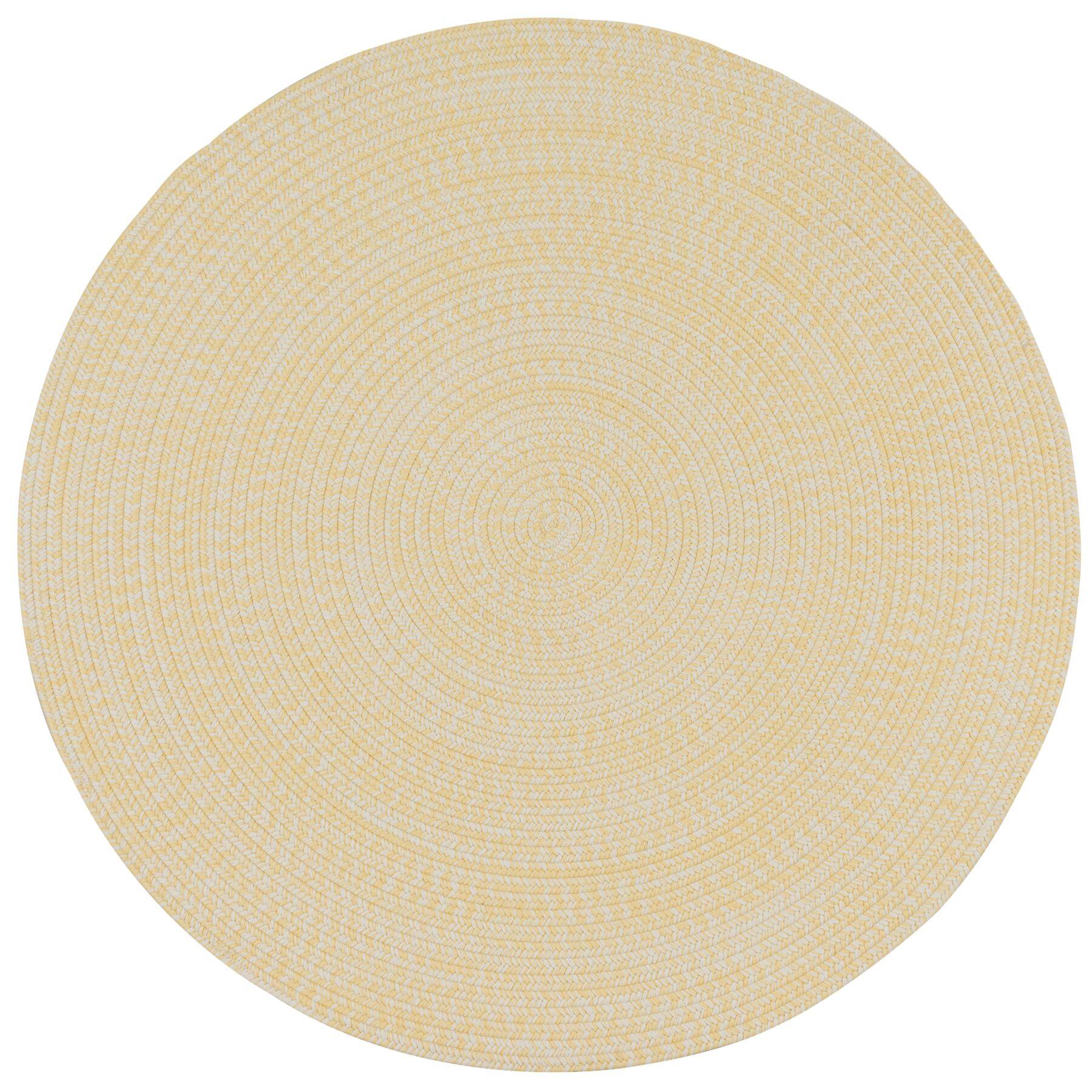 Longe Tweed Hand-Braided Beige Indoor/Outdoor Area Rug Rug Size: Round 9'