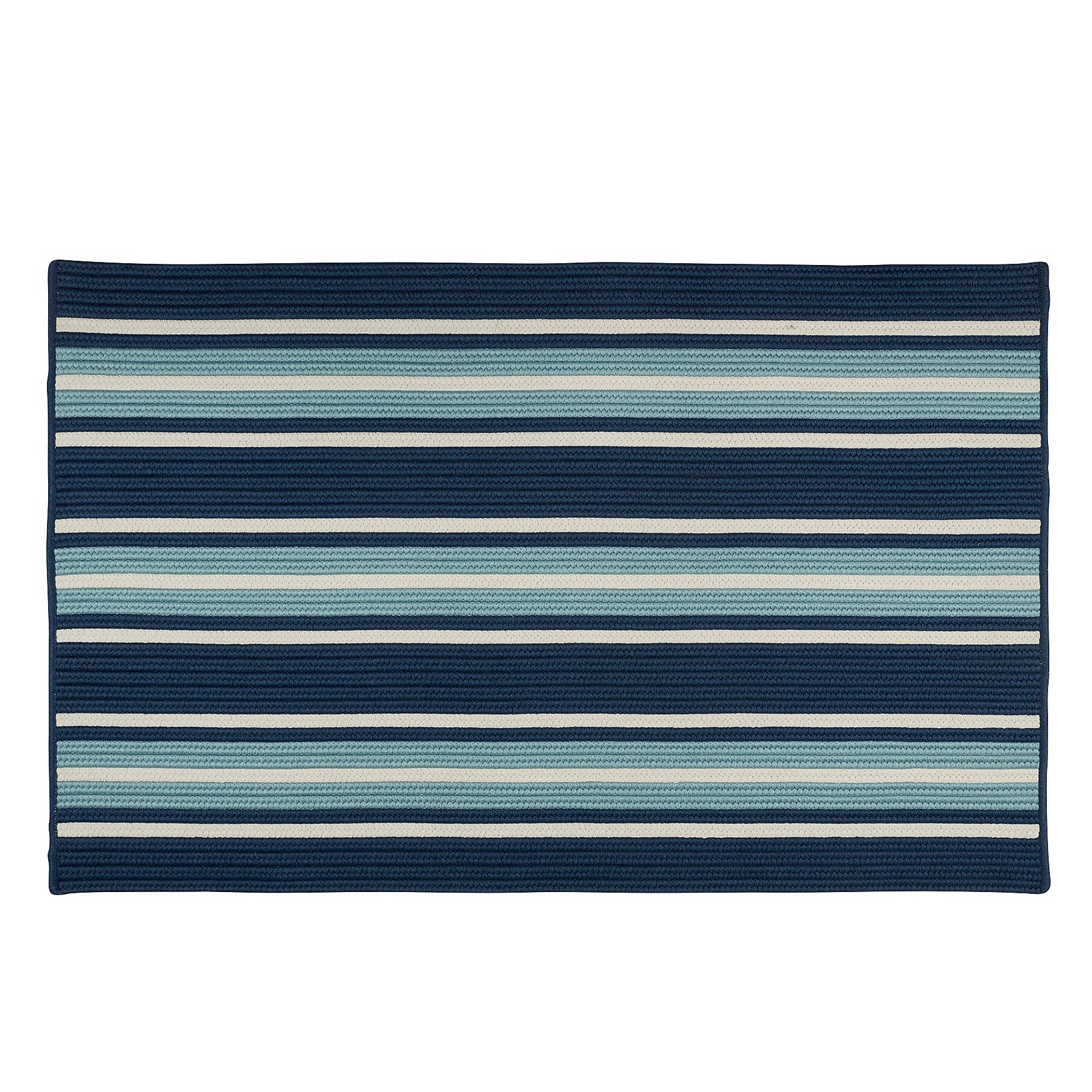 Madalynn Stripe Shoreline Hand-Braided Blue Indoor/Outdoor Area Rug Rug Size: Rectangle 8' x 10'