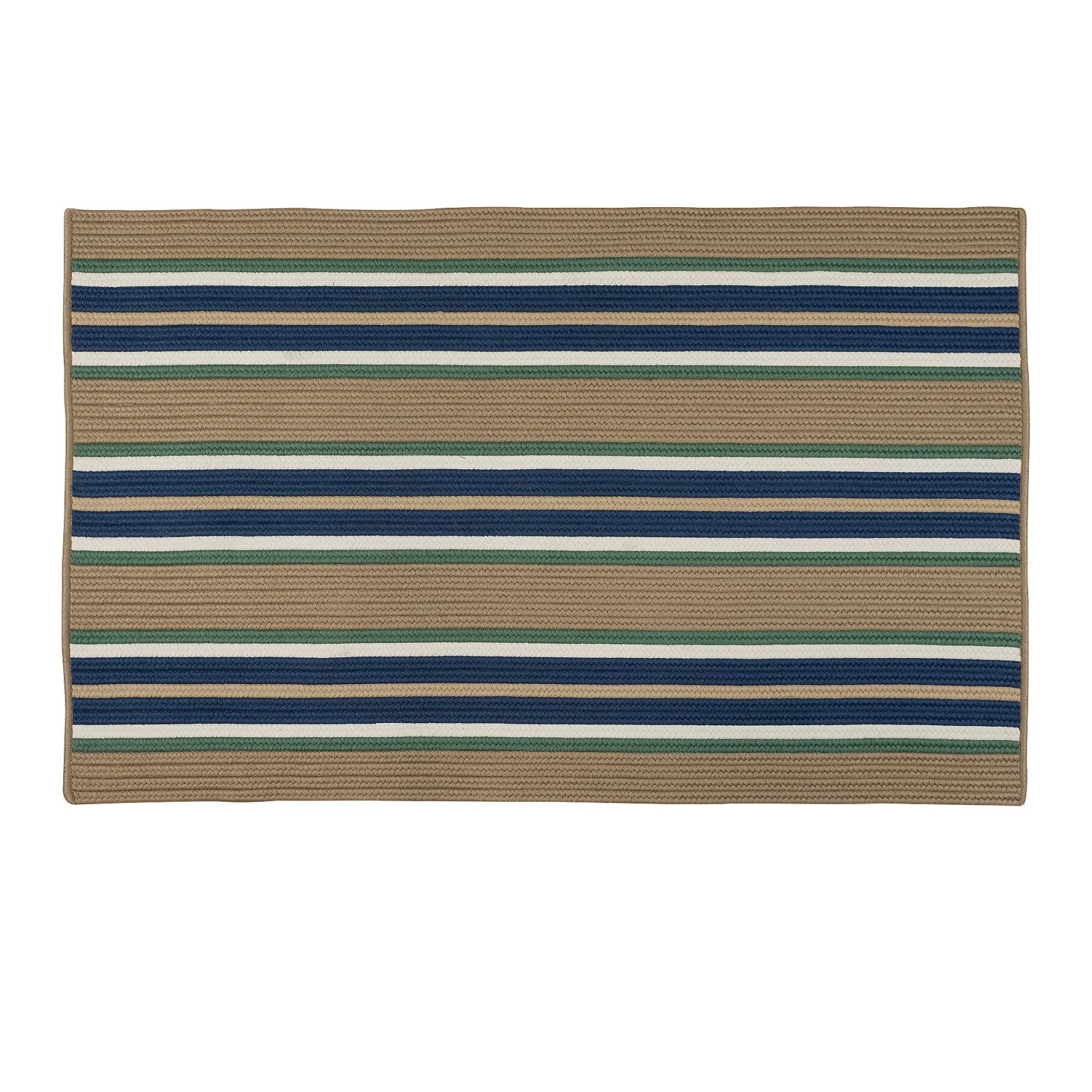 Madalynn Stripe Isle Hand-Braided Taupe Indoor/Outdoor Area Rug Rug Size: Rectangle 3' x 5'