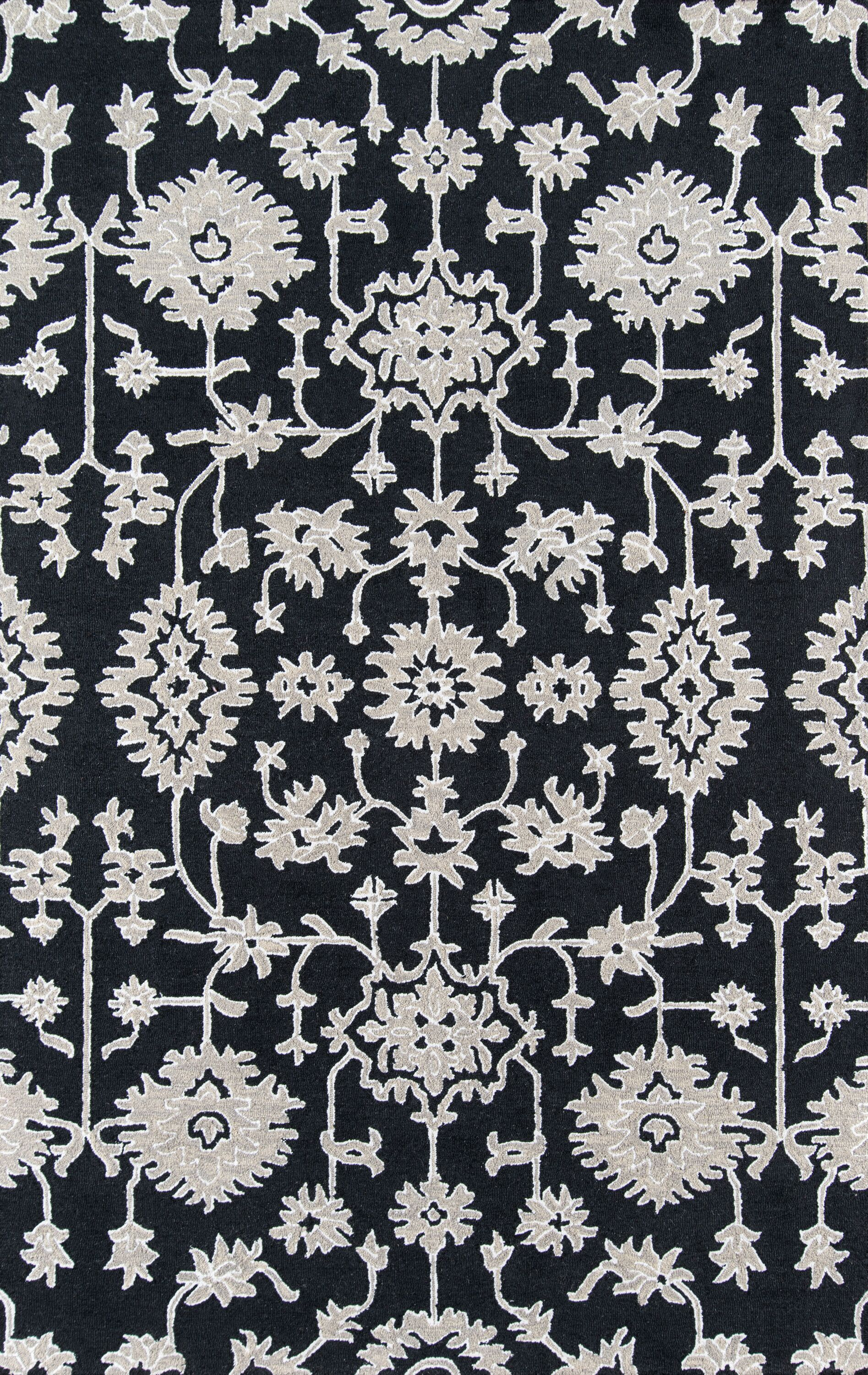 Paisley Hand-Tufted Charcoal Area Rug Rug Size: Rectangle 3' x 5'