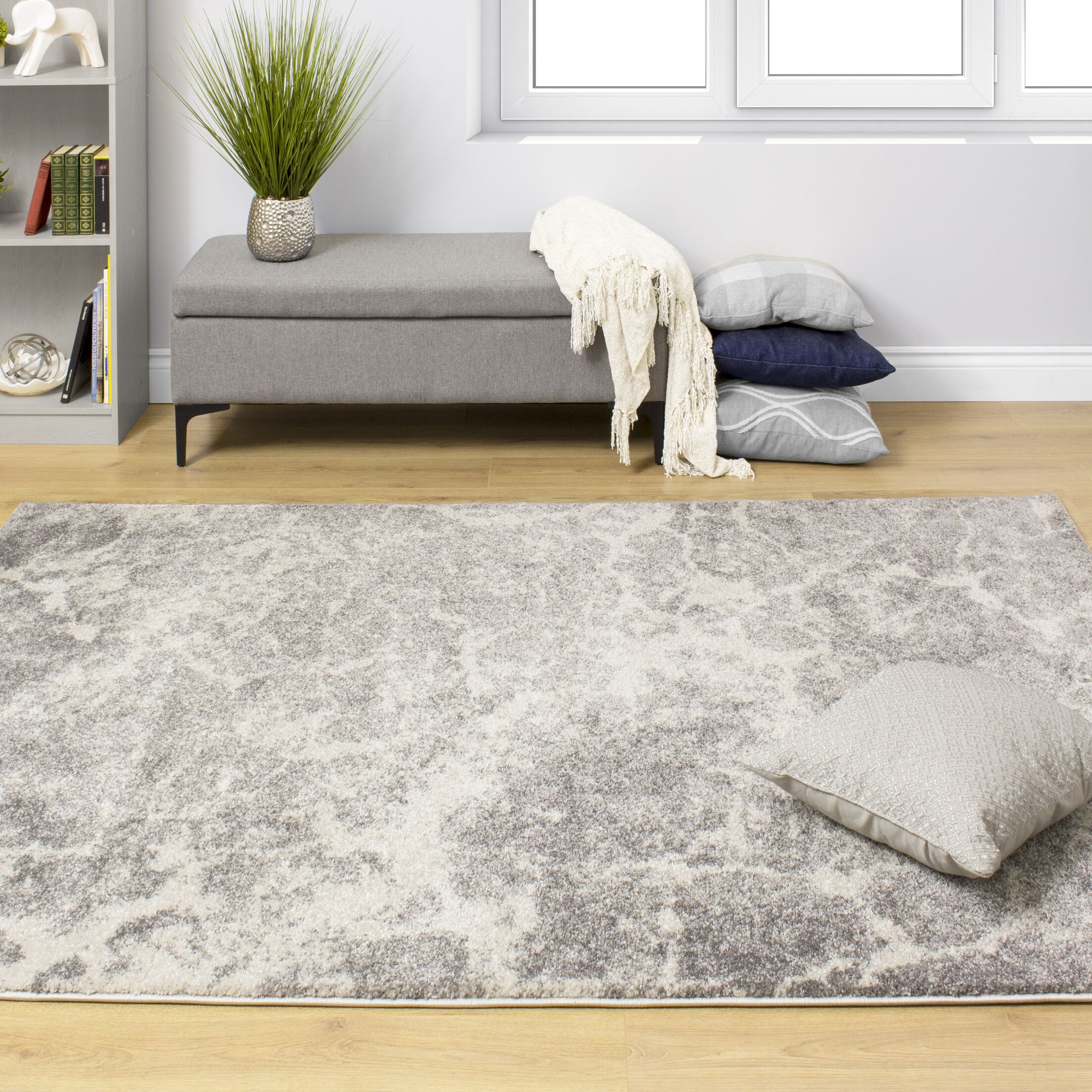 Kate Cloudy Surface Silver Area Rug Rug Size: Rectangle 7'10'' x 10'6''