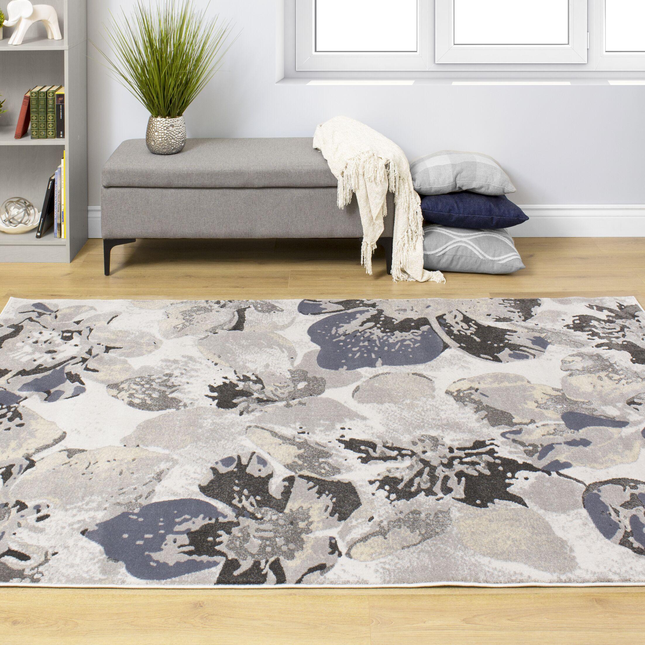 Lauryn Botanical Cream/Gray Area Rug Rug Size: Rectangle 5'3'' x 7'7''