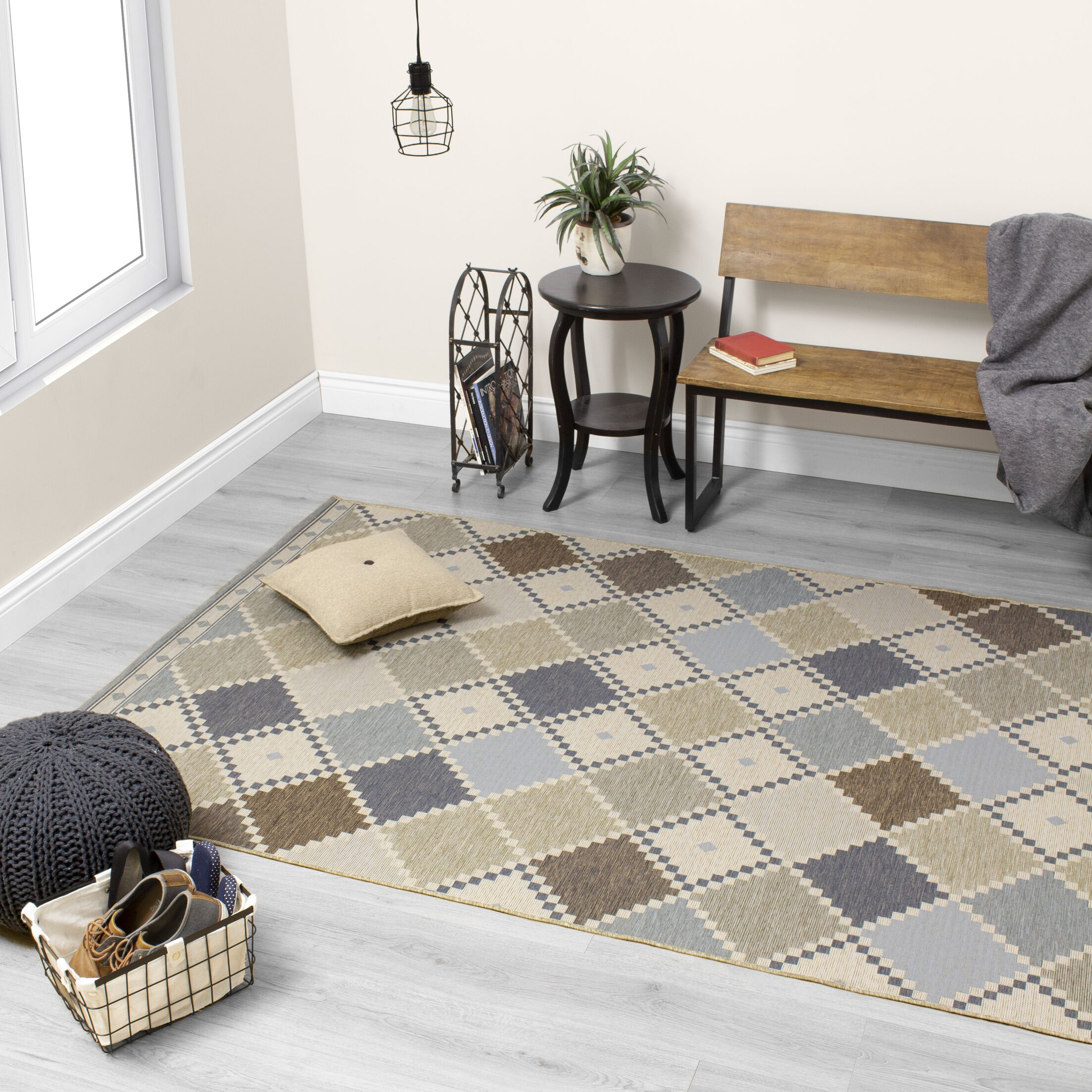 Kayleigh Colorful Checkerboard Quilt Gray Indoor/Outdoor Area Rug Rug Size: Rectangle 8' x 11'2''