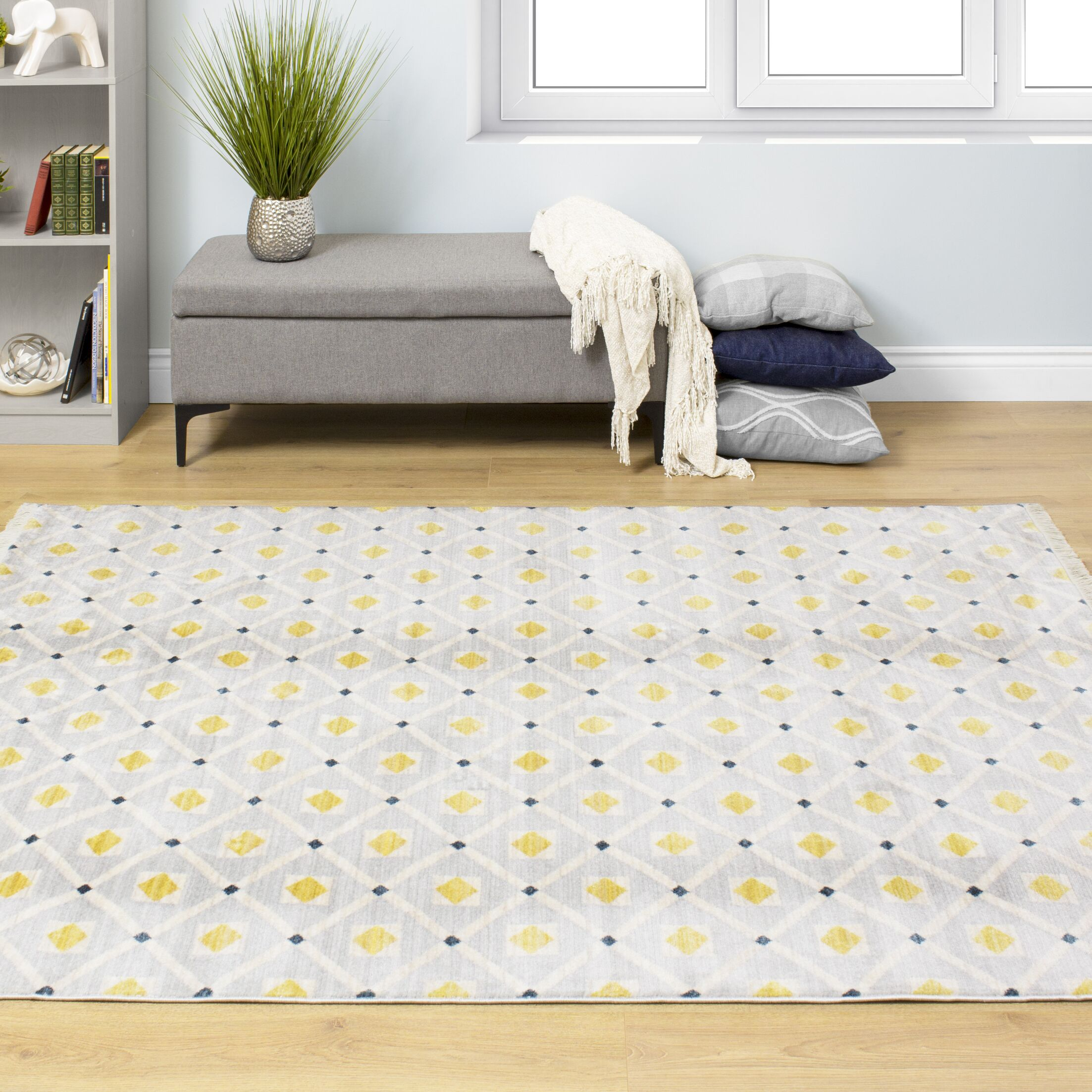 Zephyrine Dotted Trellis Gray/Yellow Area Rug Rug Size: Rectangle 5'3'' x 7'3''