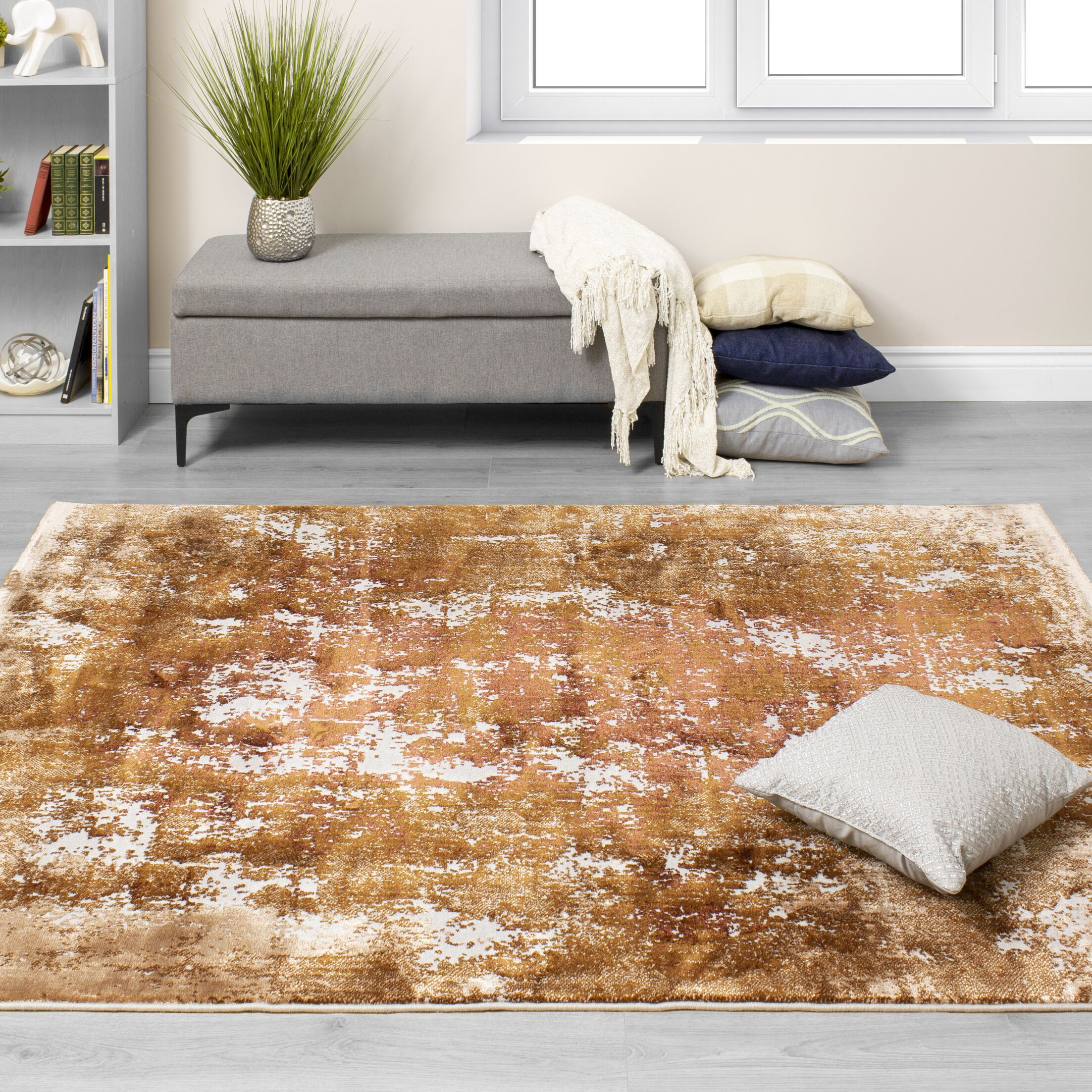 Finnick Distressed Abstract Orange/Cream Area Rug Rug Size: Rectangle 7'10'' x 10'10''