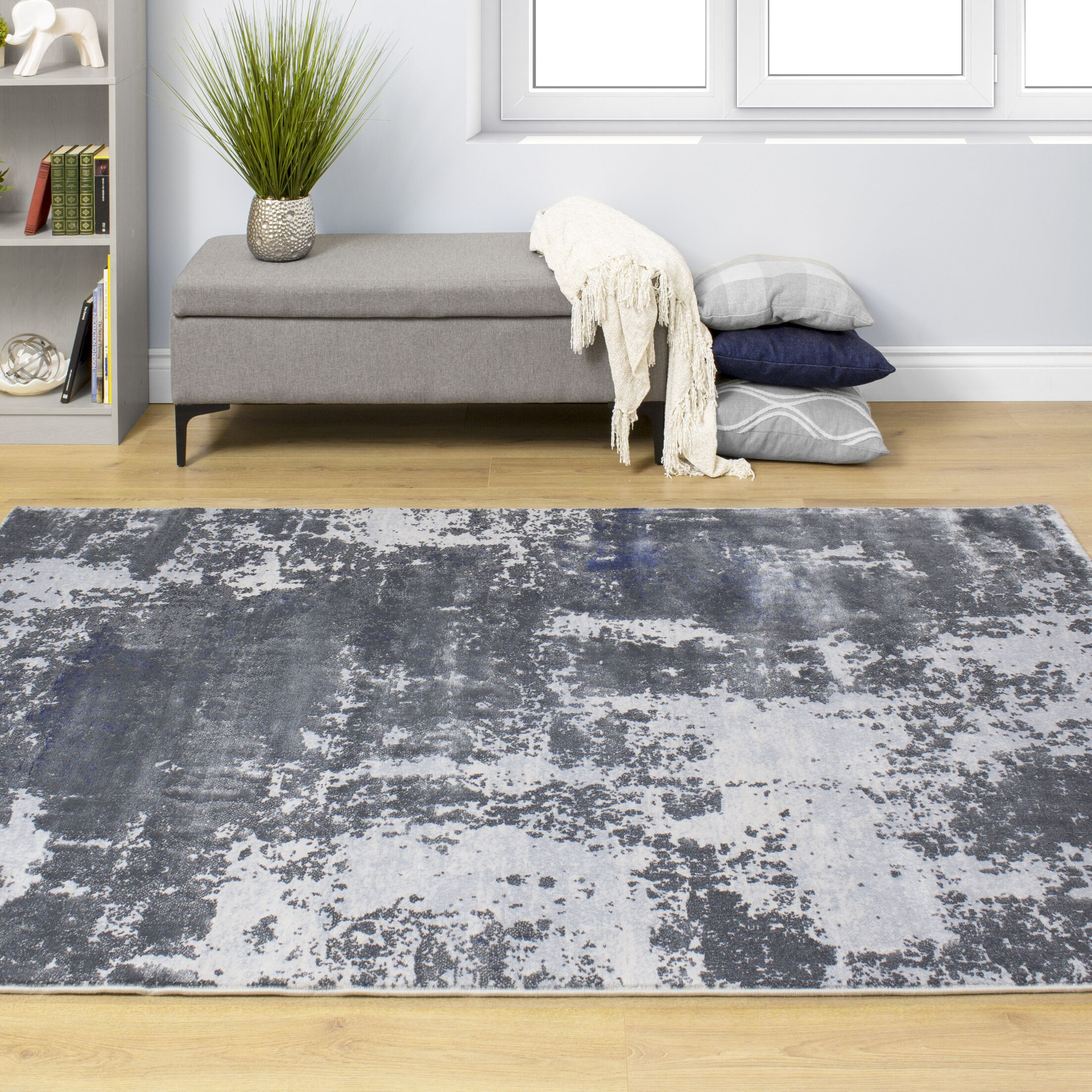 Aurelio Distressed Abstract Gray/Blue Area Rug Rug Size: Rectangle 5'3'' x 7'7''
