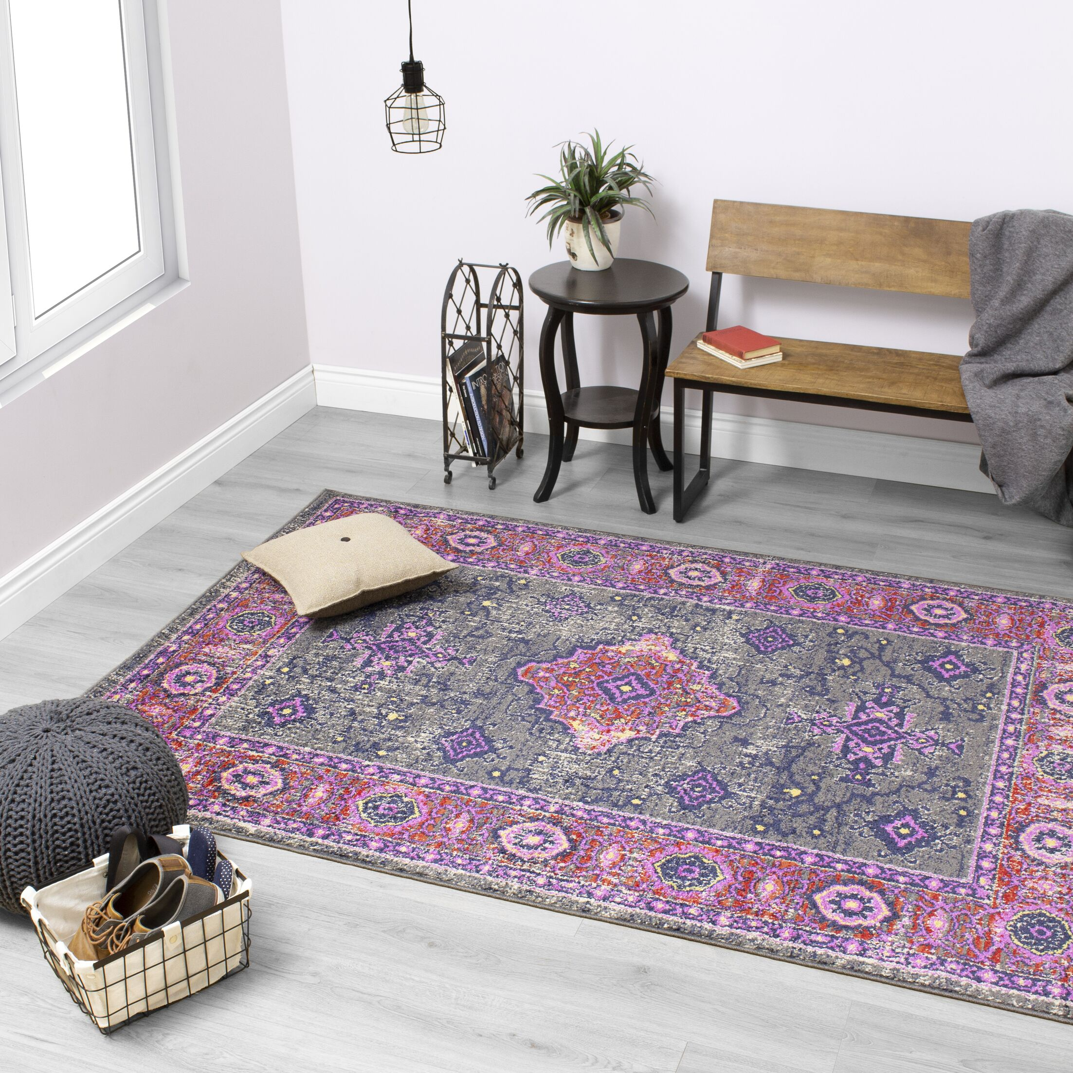 Gabriella Medallion Border Pink/Gray Area Rug Rug Size: Rectangle 7'10'' x 10'6''