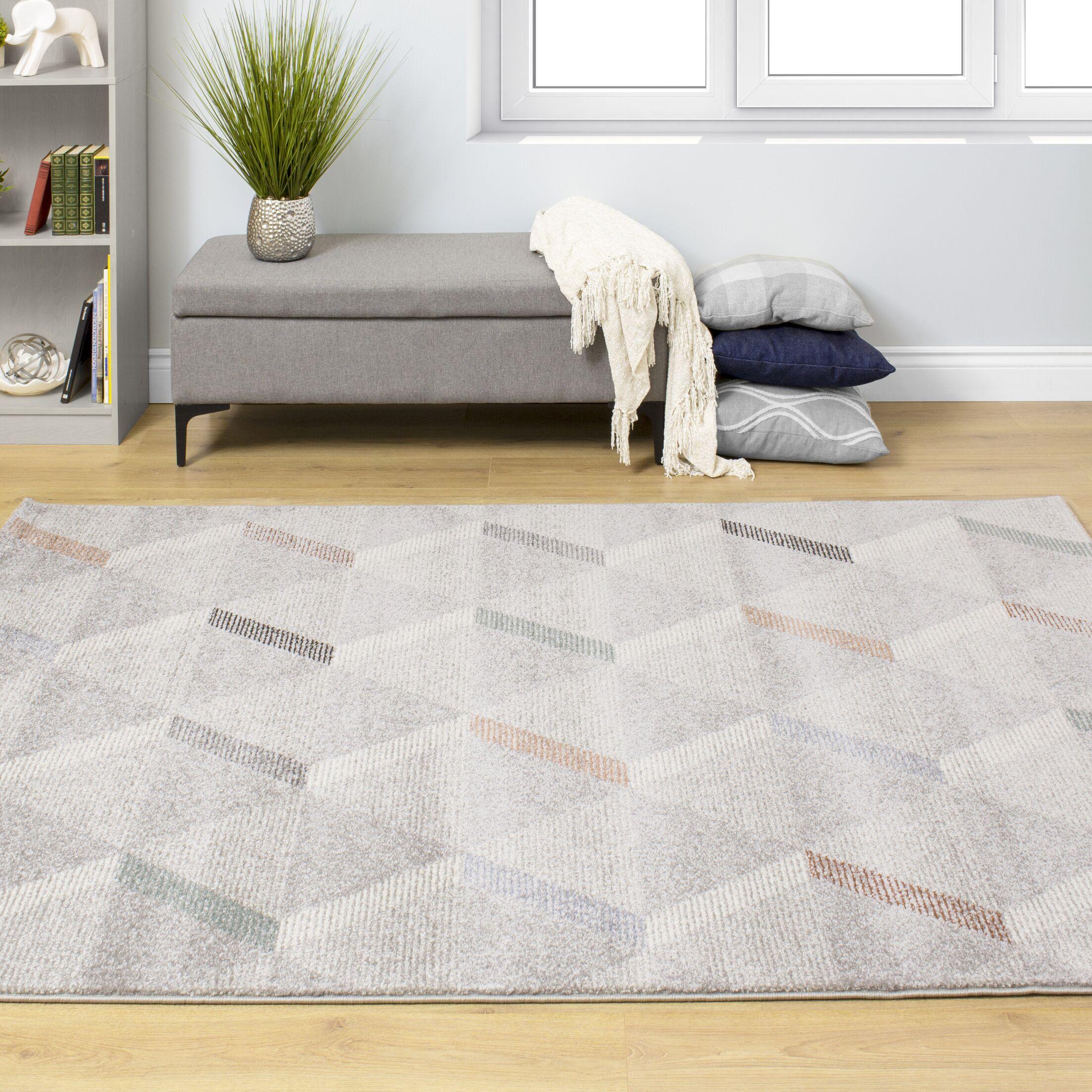 Greve Subtle Triangles Gray/Orange Area Rug Rug Size: Rectangle 7'10'' x 10'10''