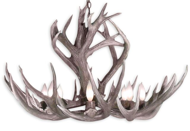 Powers Mule/Deer 9-Light Novelty Chandelier Shade Color: Parchment, Finish: Black Chain/Sun Bleached Antlers