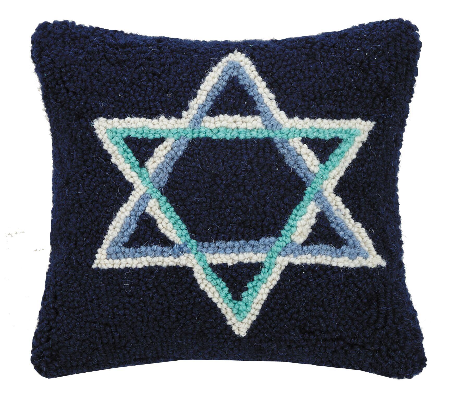 Caenas Star of David Hook Wool Throw Pillow