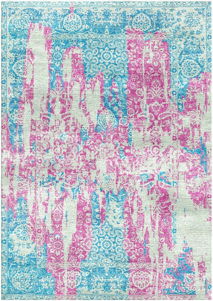 Aliza Handloom Pink/Blue Area Rug Rug Size: Rectangle 5'7