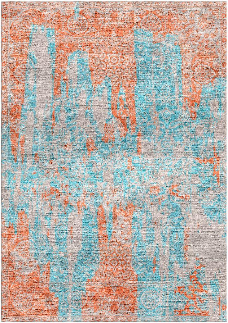 Aliza Handloom Blue/Rust Area Rug Rug Size: Square 6'