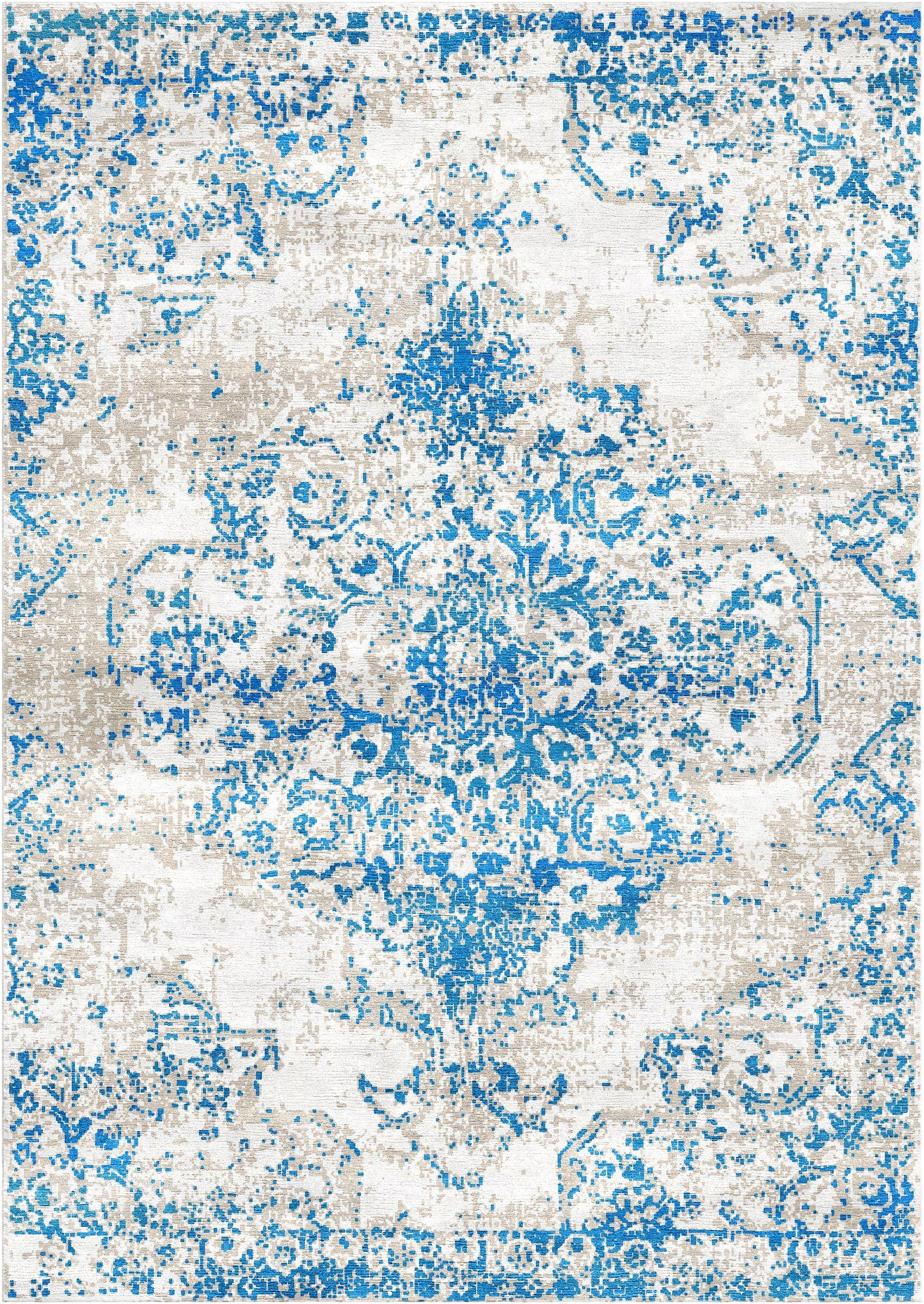 Aliza Handloom Blue/Ivory Area Rug Rug Size: Rectangle 5'7