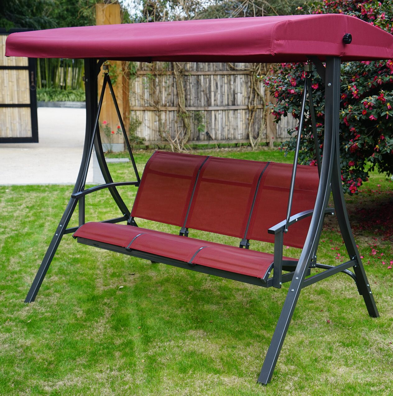 Otteridge Patio Porch Swing with Stand Fabric: Red