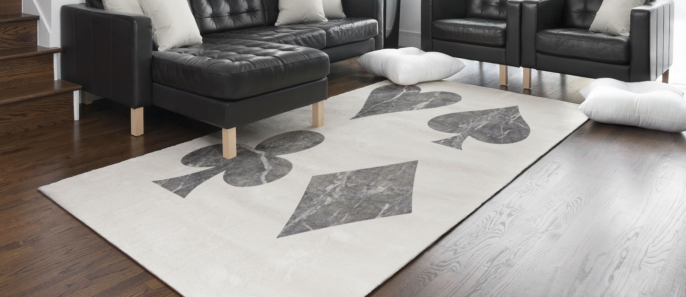 Goku Marble Playing Cards Black/Beige Area Rug Rug Size: Rectangle 3' x 5'