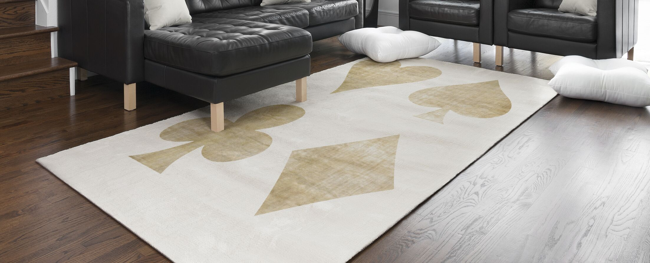 Hadrian Playing Cards Beige/Gold Area Rug Rug Size: Rectangle 5' x 7'