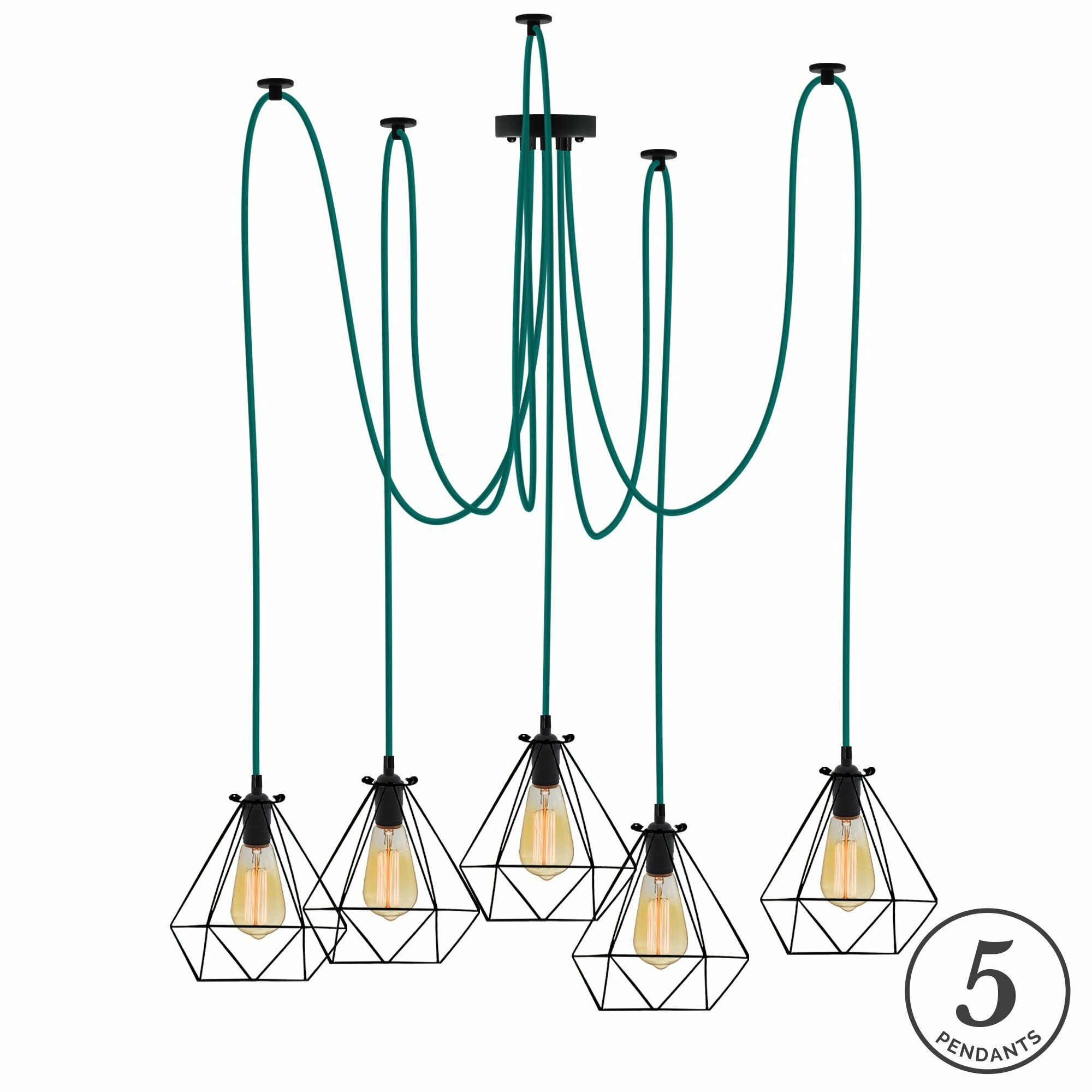 Esai 5-Light Cluster Pendant Shade Color: Black, Finish: Teal